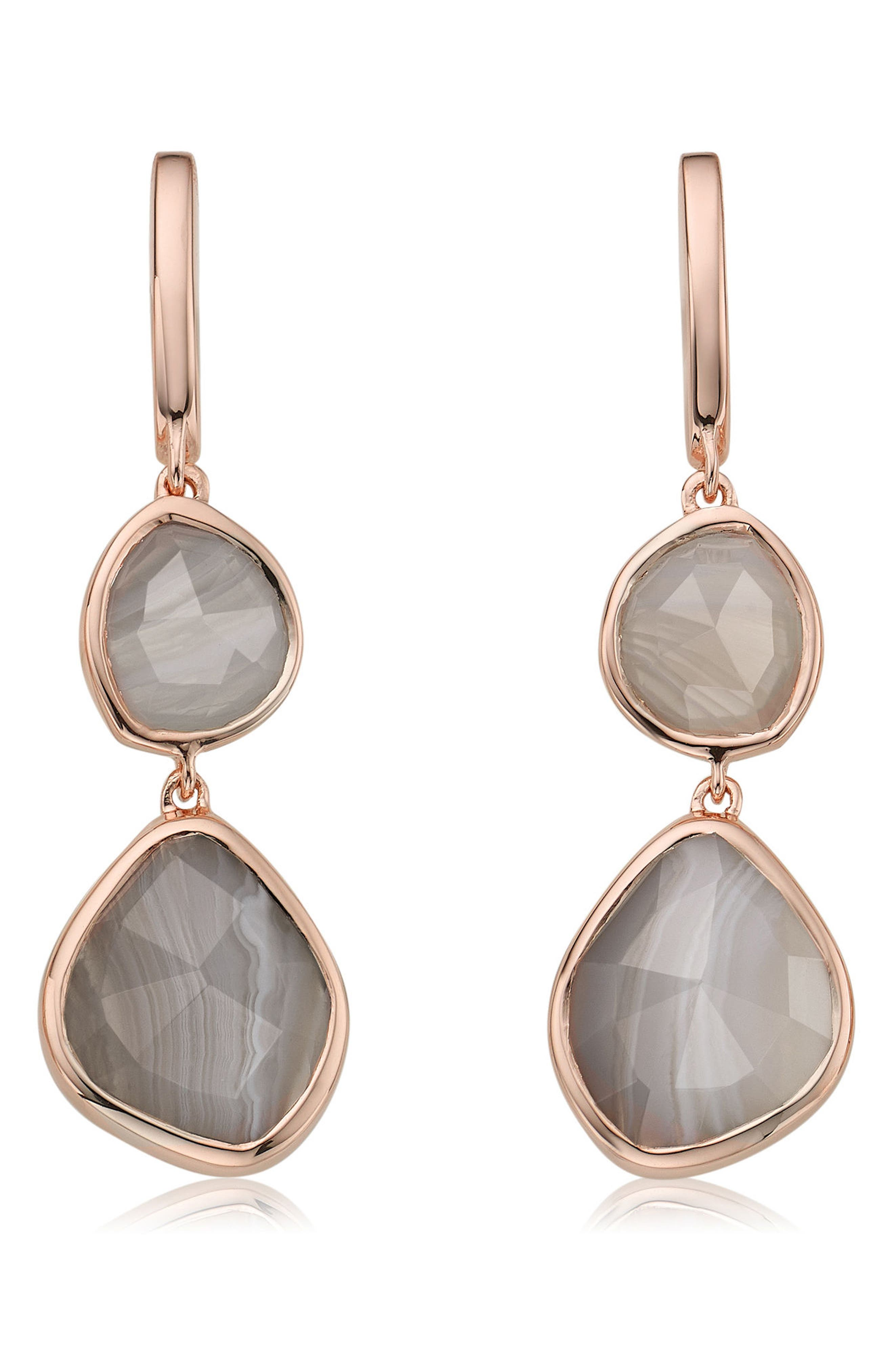 Siren Semiprecious Stone Drop Earrings,                             Main thumbnail 1, color,                             Grey Agate/ Rose Gold