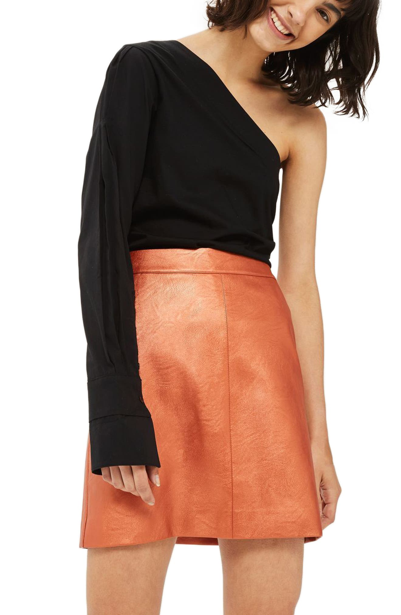 Faux Leather Skirt,                         Main,                         color, Rust