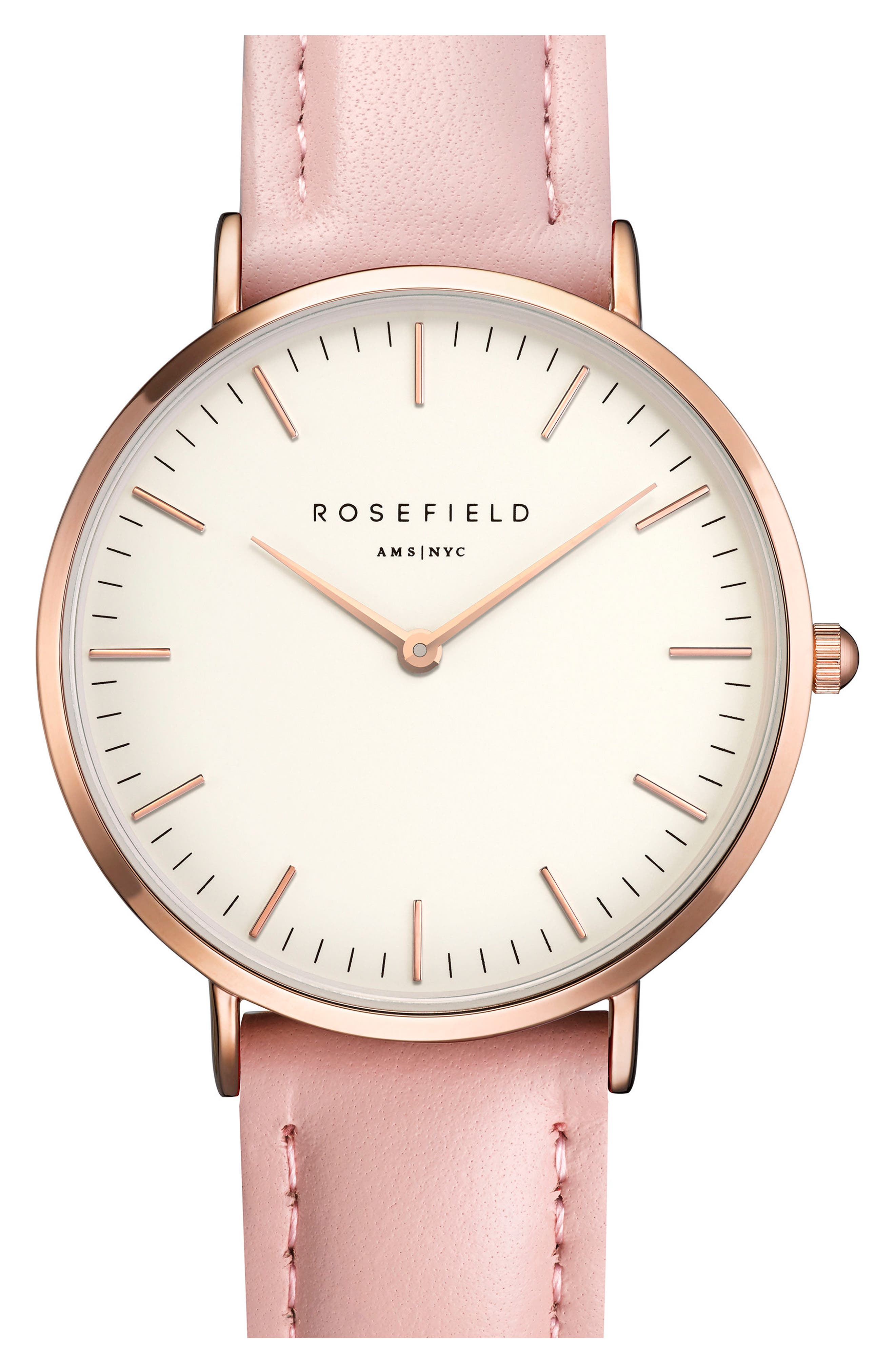 Tribeca Leather Strap Watch, 33mm,                         Main,                         color, Pink/ White/ Rose Gold