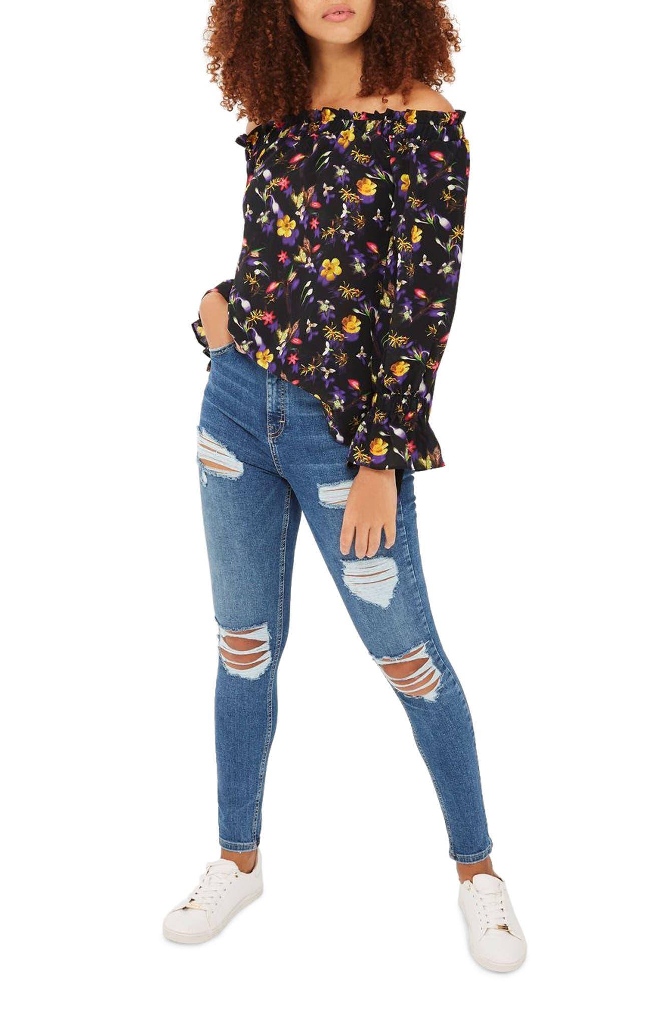 TOPSHOP Floral Tie Sleeve Off-the-Shoulder Top