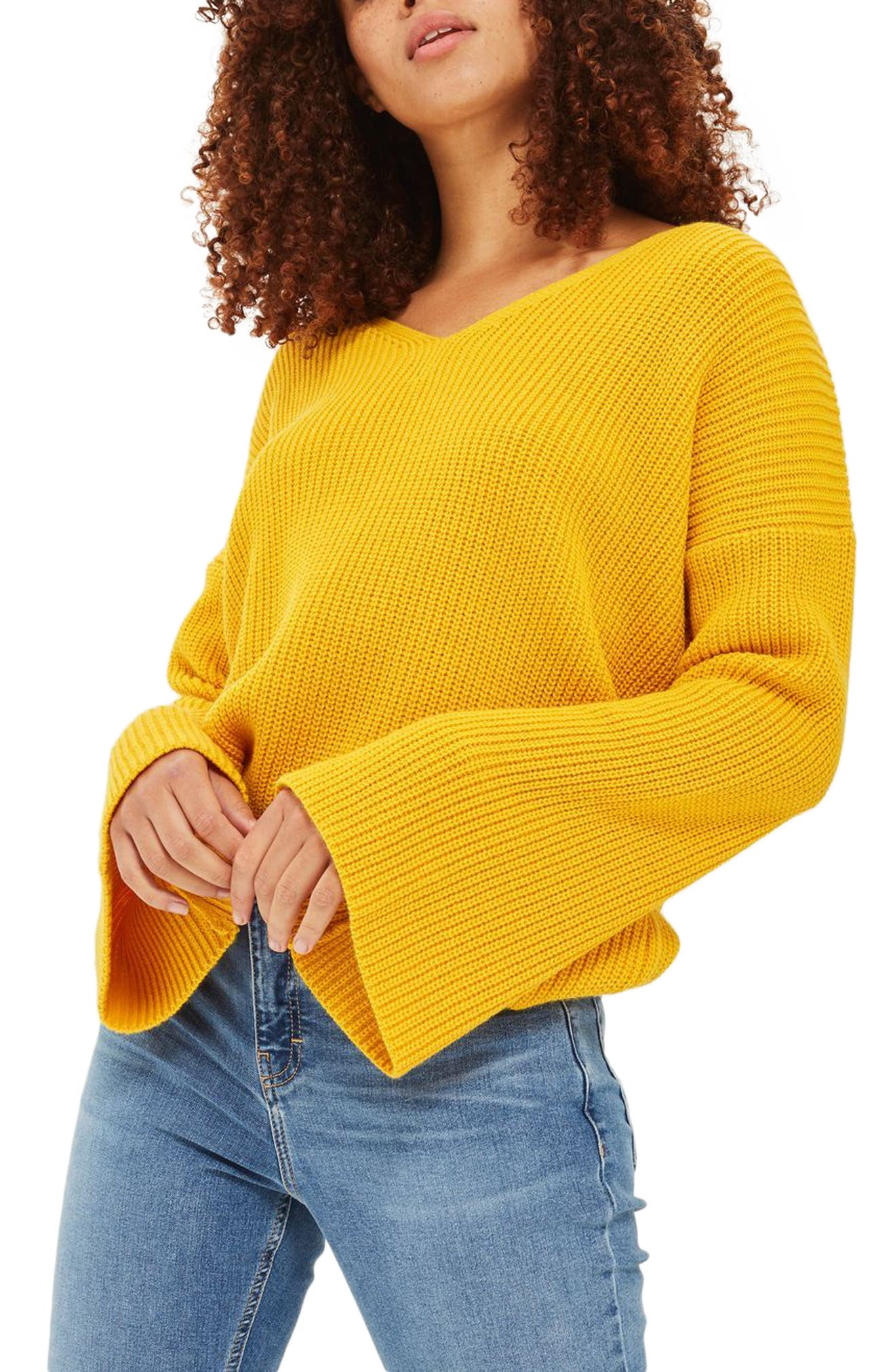 Lattice Back Sweater,                         Main,                         color, Yellow