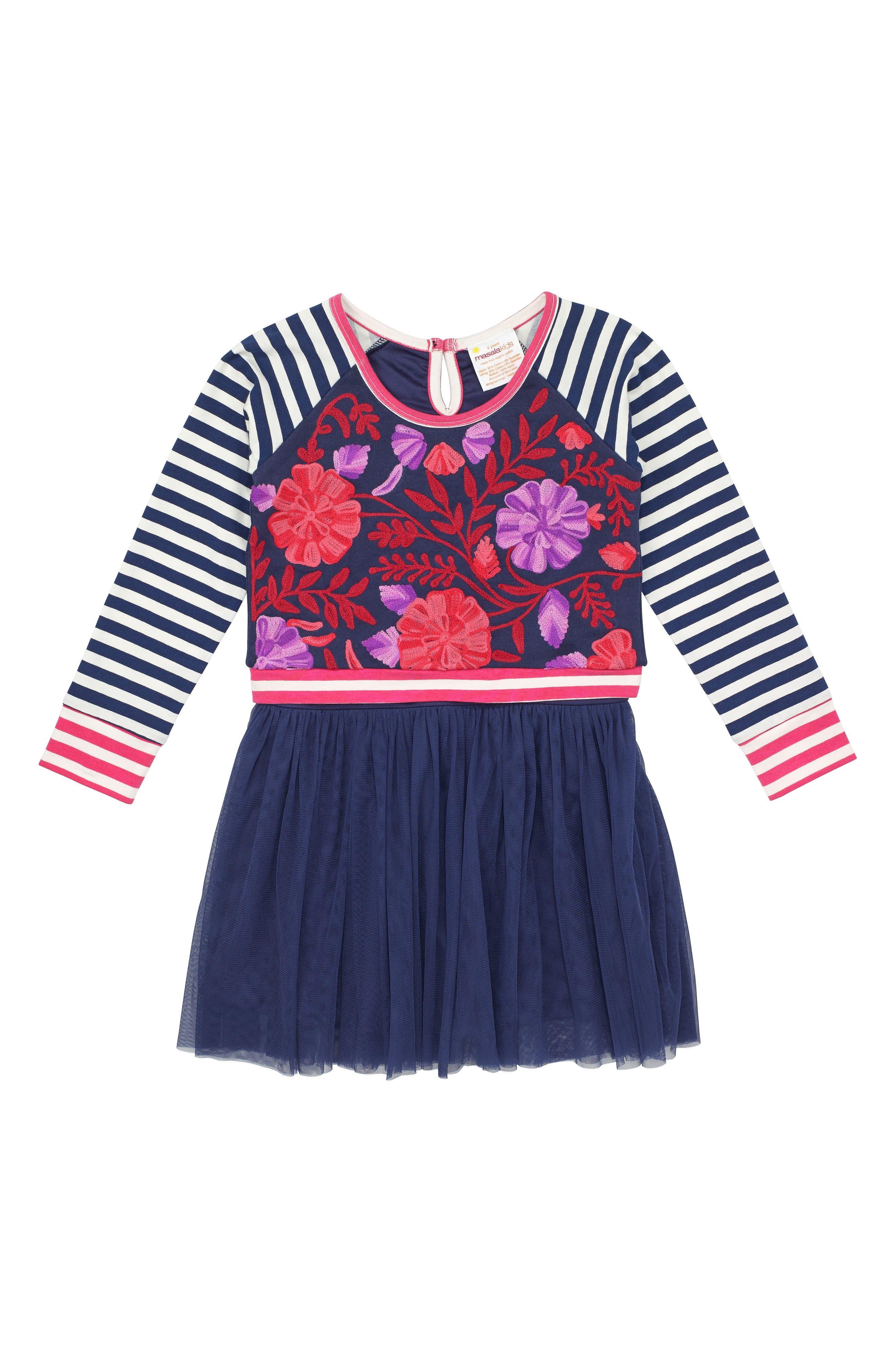 Alternate Image 1 Selected - Masalababy Floral & Stripe Organic Cotton Dress (Toddler Girls, Little Girls & Big Girls)