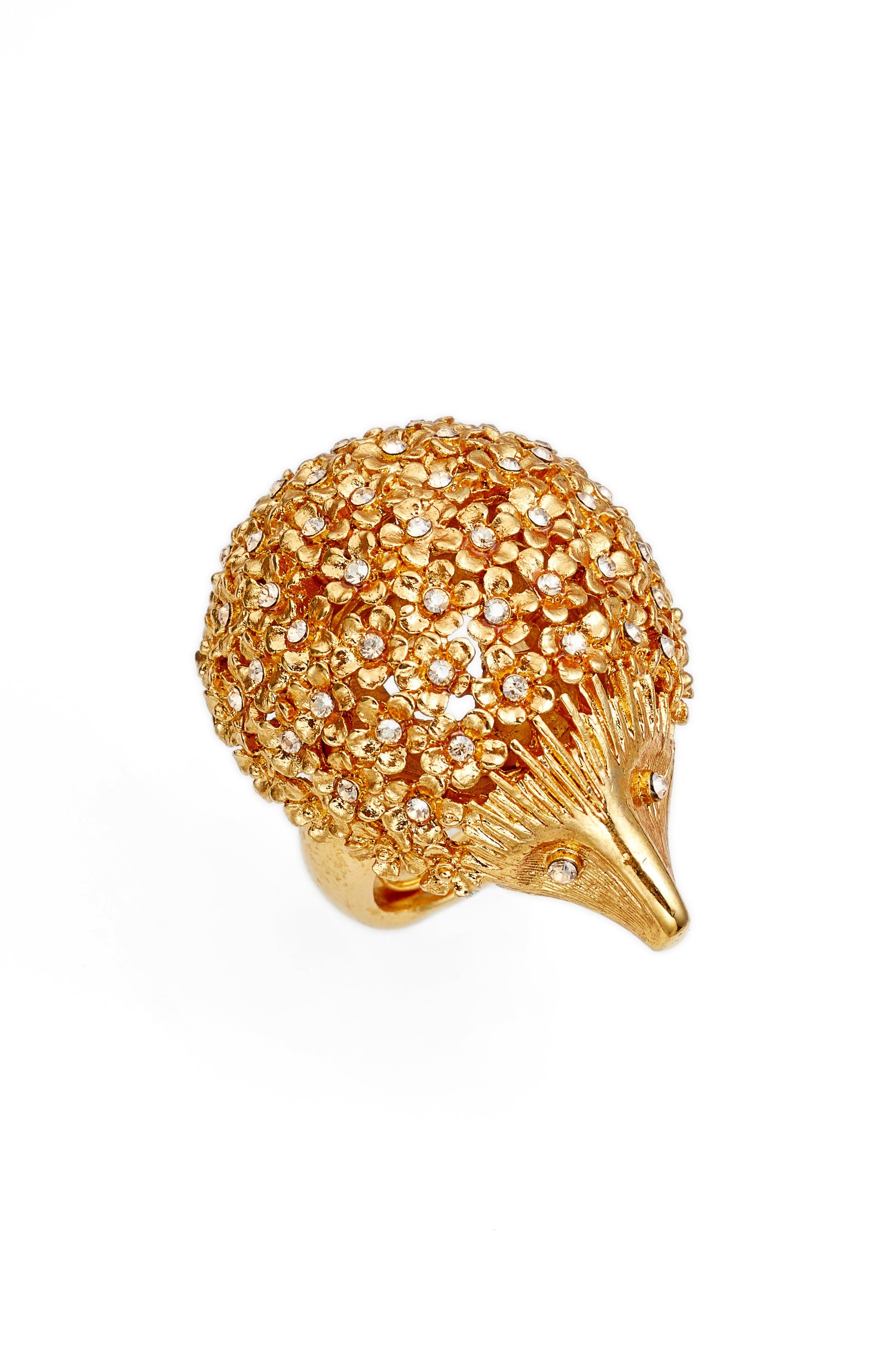 Crystal Hedgehog Ring,                             Main thumbnail 1, color,                             Crystal Gold Shadow