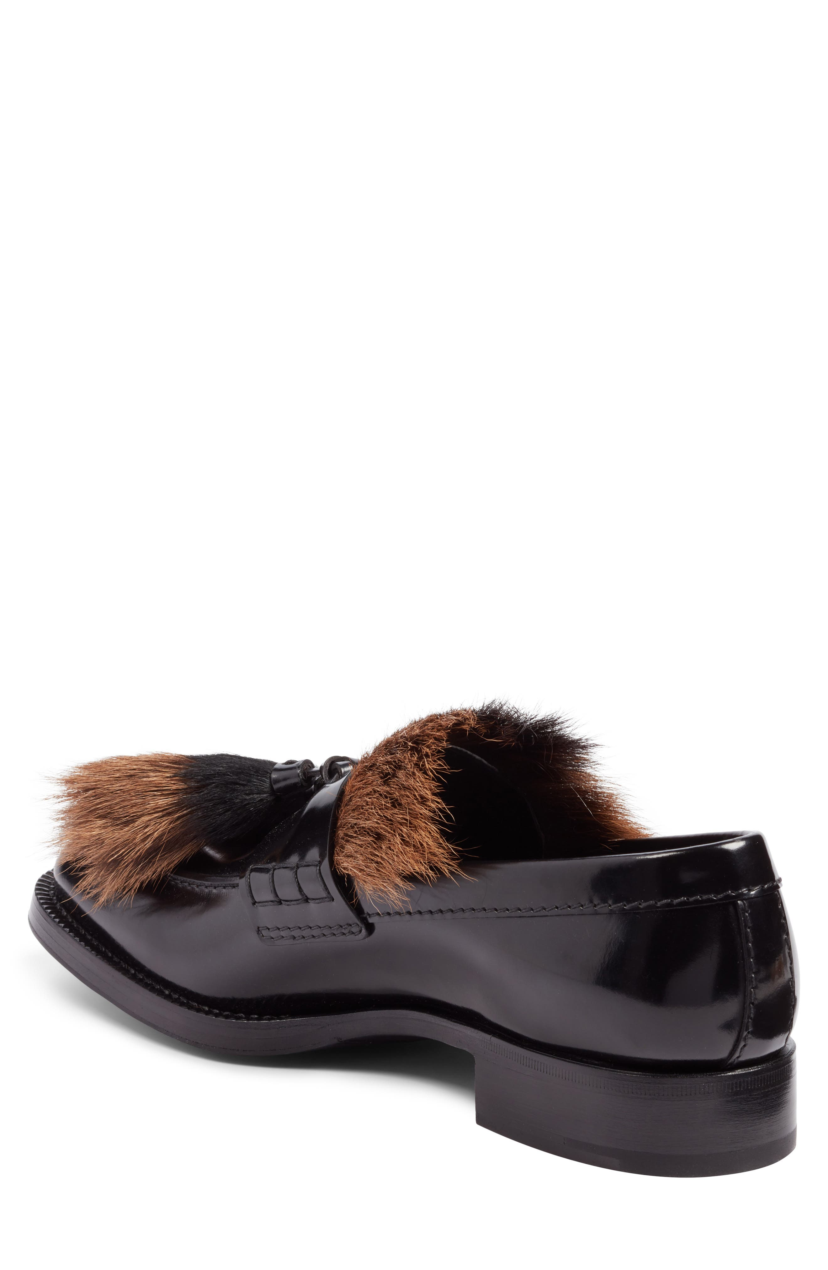 Tassel Loafer with Genuine Goat Hair Trim,                             Alternate thumbnail 2, color,                             Nero Leather