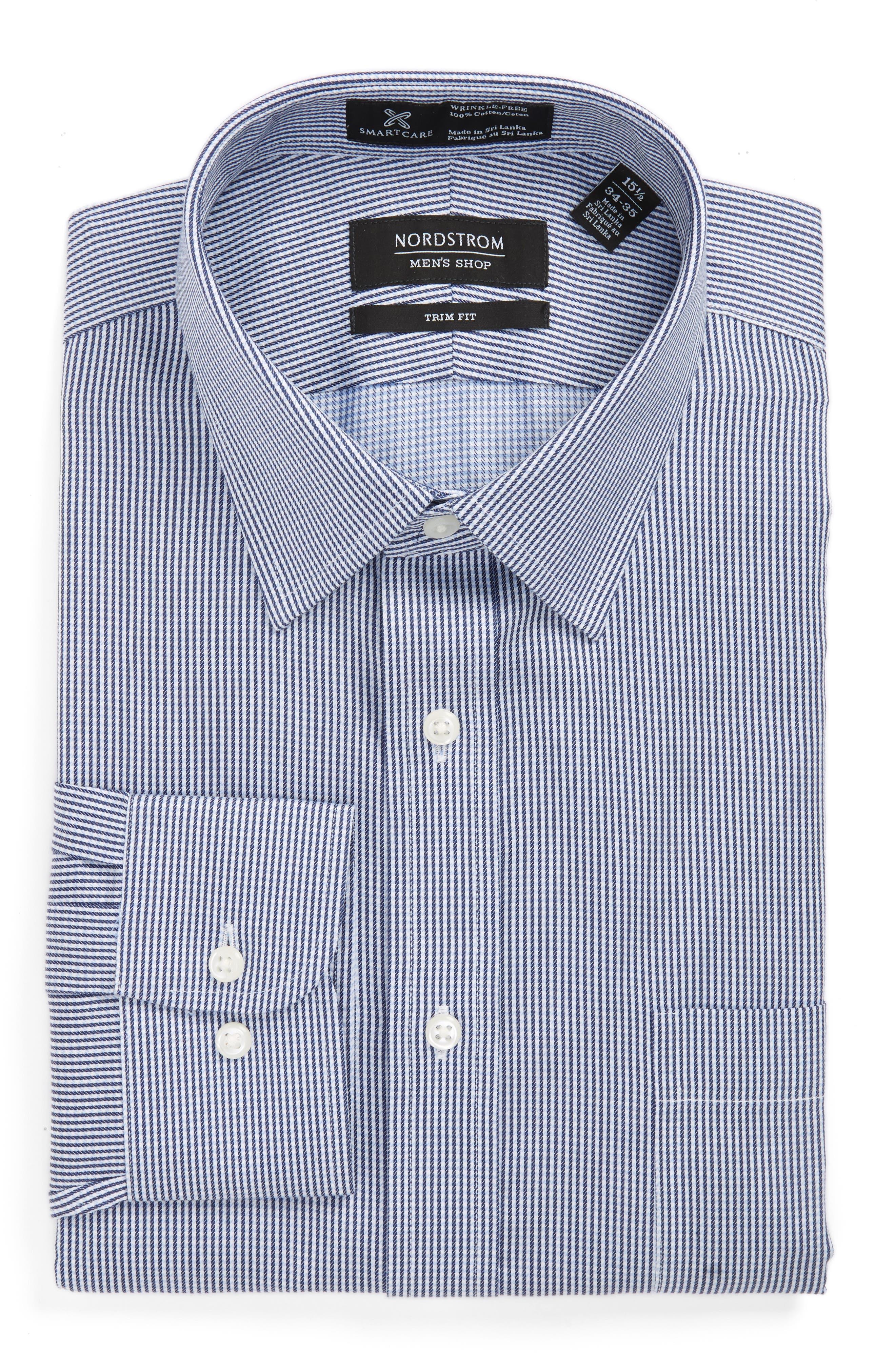 Smartcare<sup>™</sup> Trim Fit Stripe Dress Shirt,                         Main,                         color, Blue Bisou