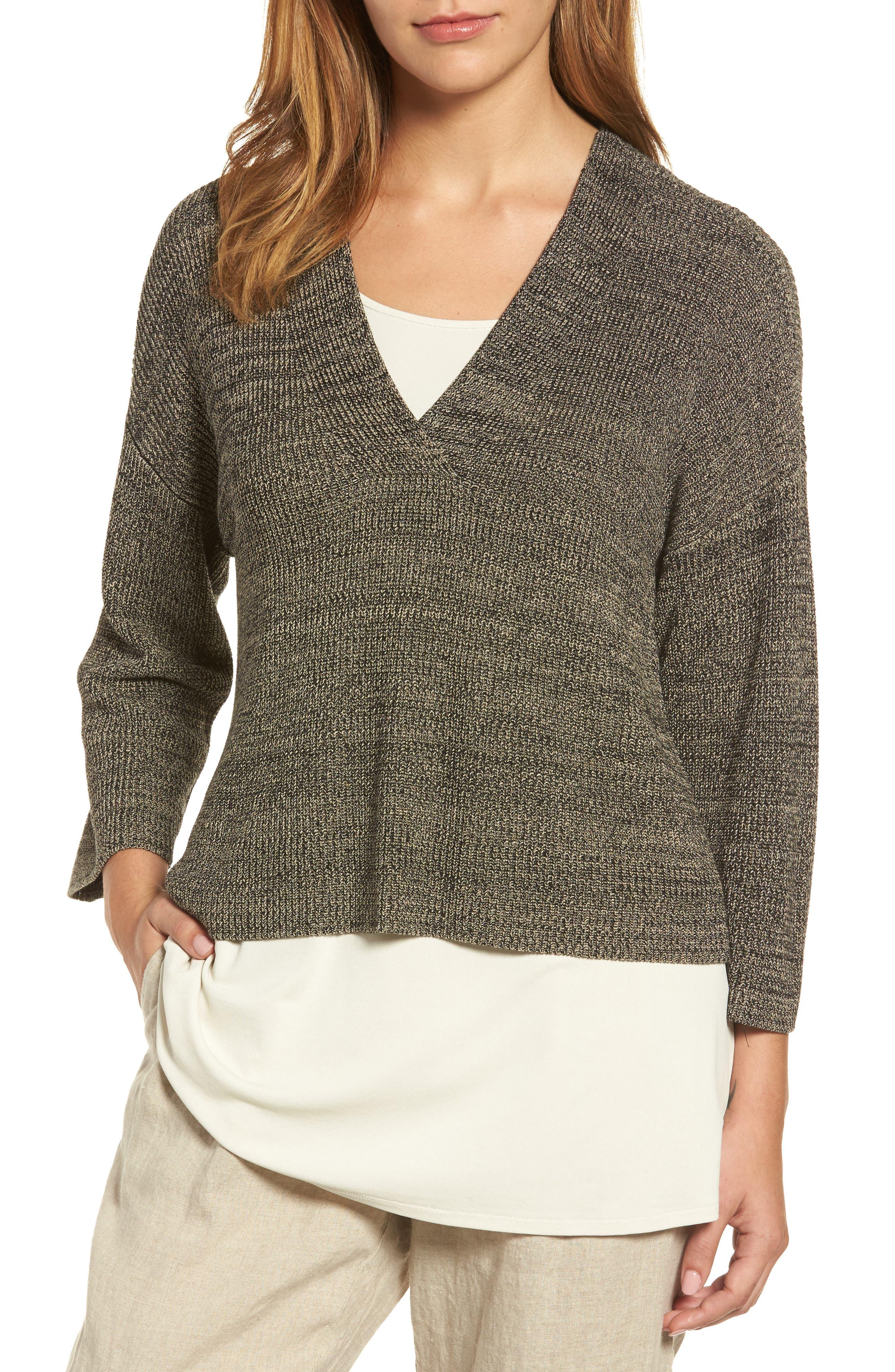 Mélange Knit Tencel<sup>®</sup> Crop Sweater,                         Main,                         color, Black Natural