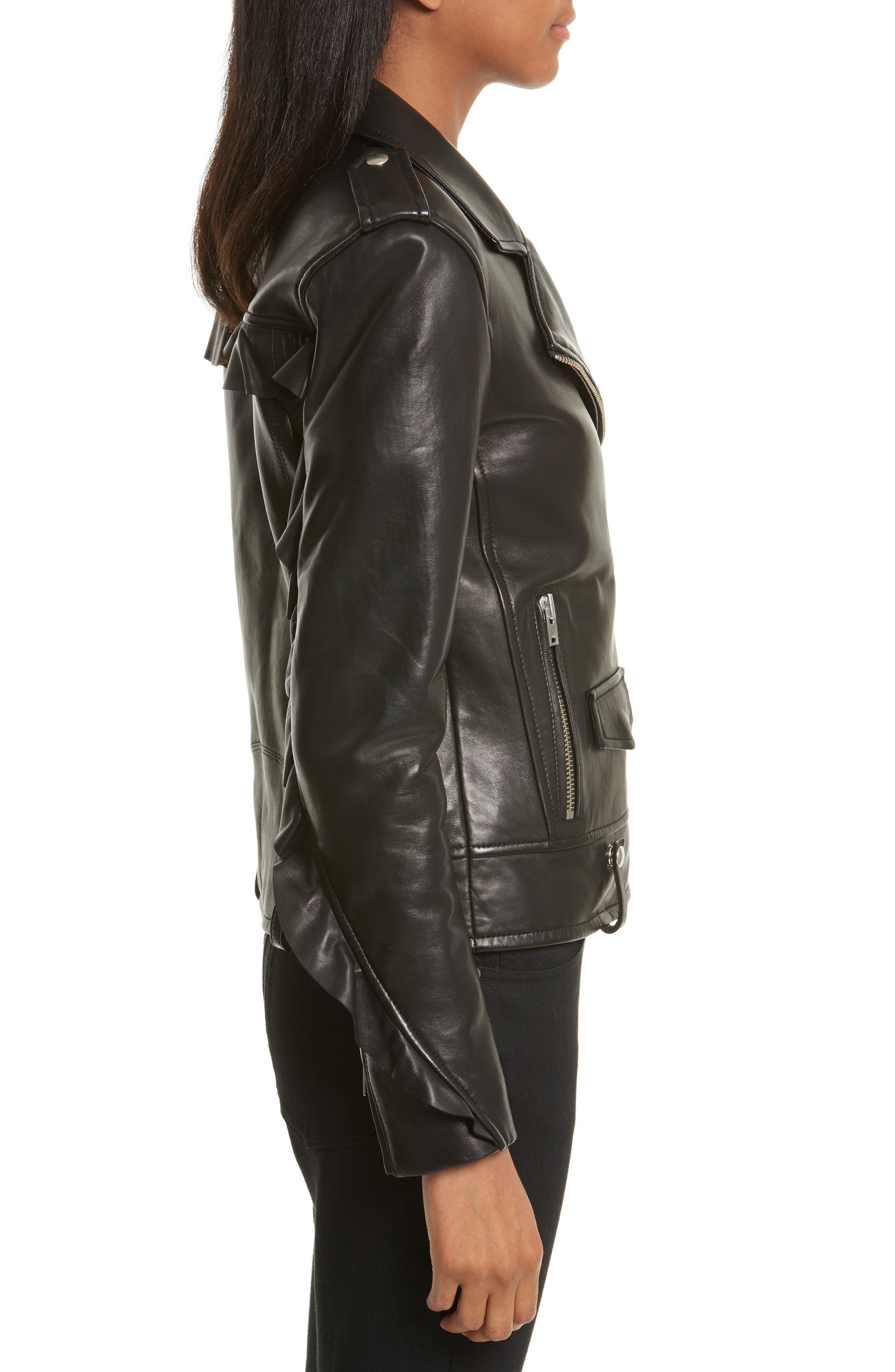 Dumont Leather Jacket,                             Alternate thumbnail 3, color,                             Black
