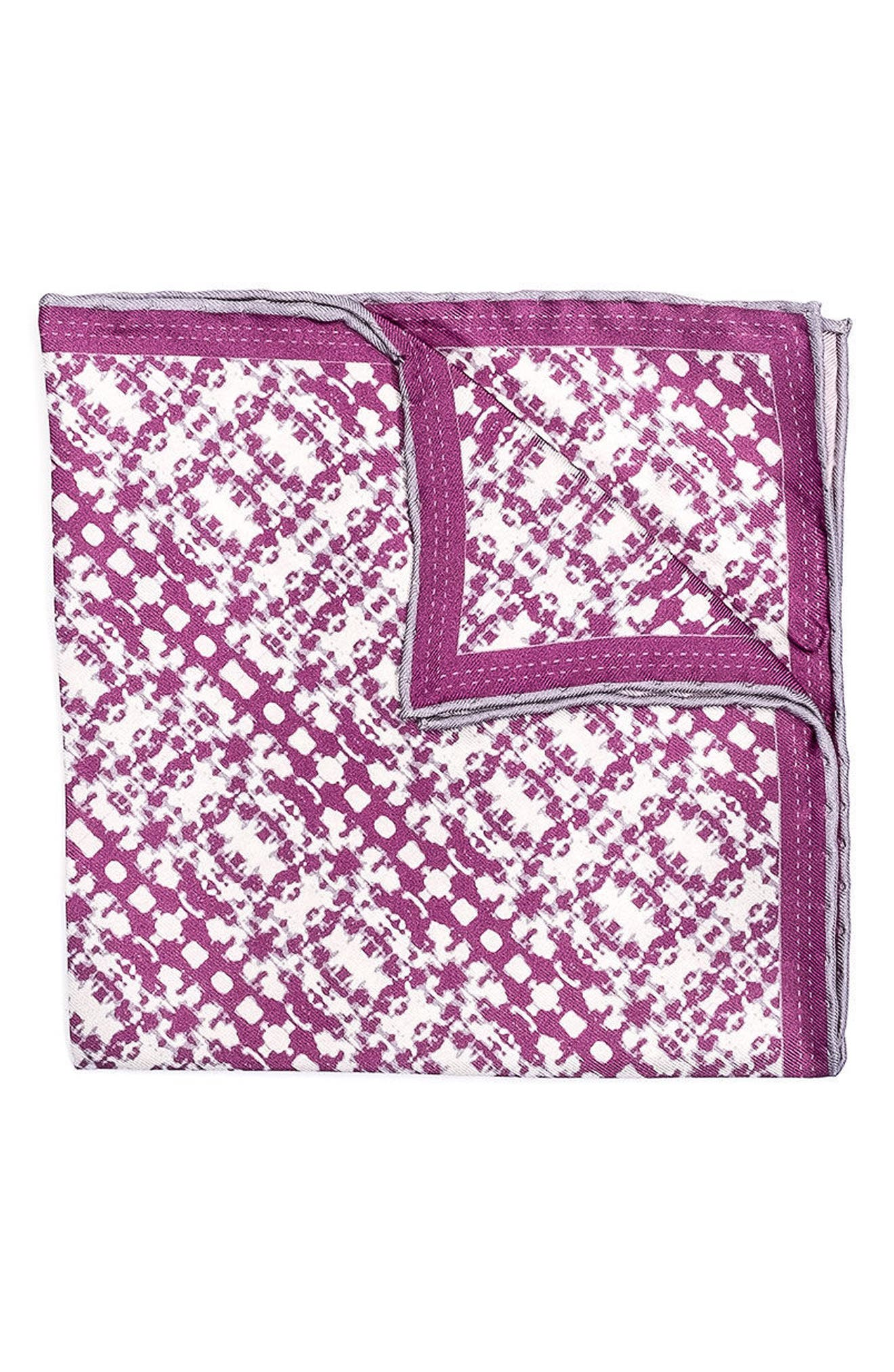 HOOK + ALBERT Batik Patterned Silk Pocket Square