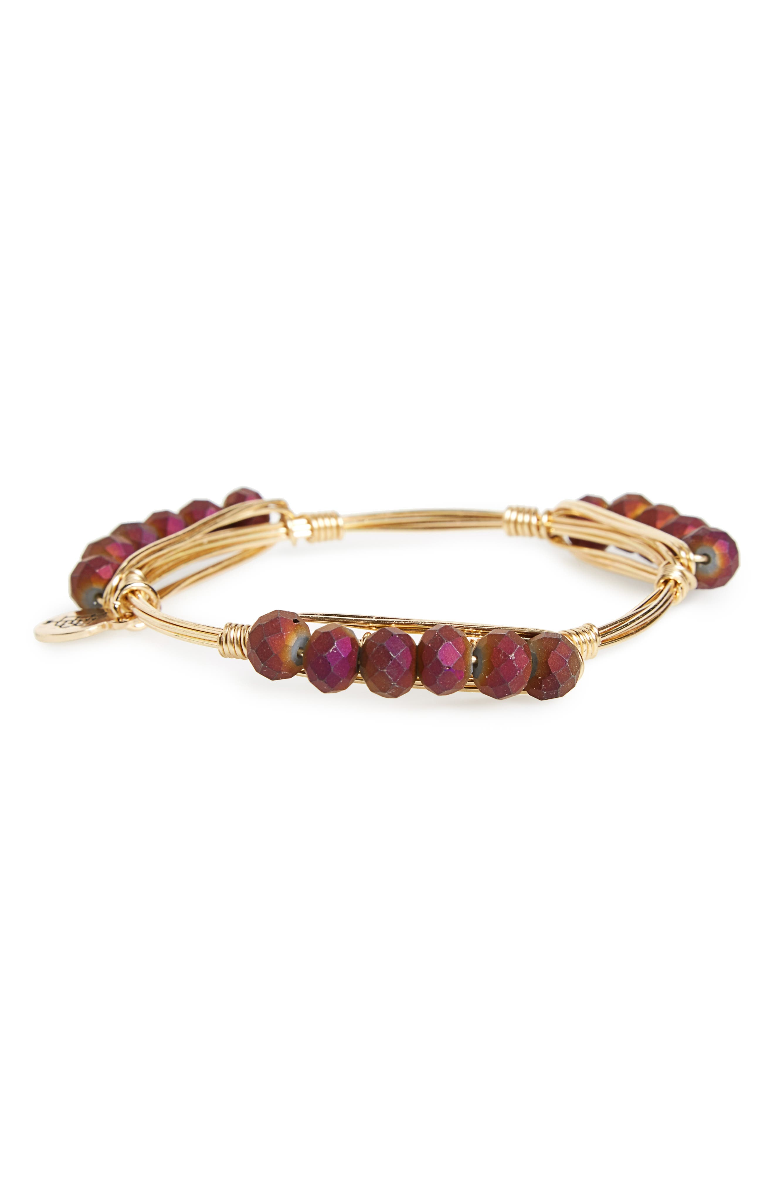 Beaded Bracelet,                             Alternate thumbnail 2, color,                             Purple/ Gold