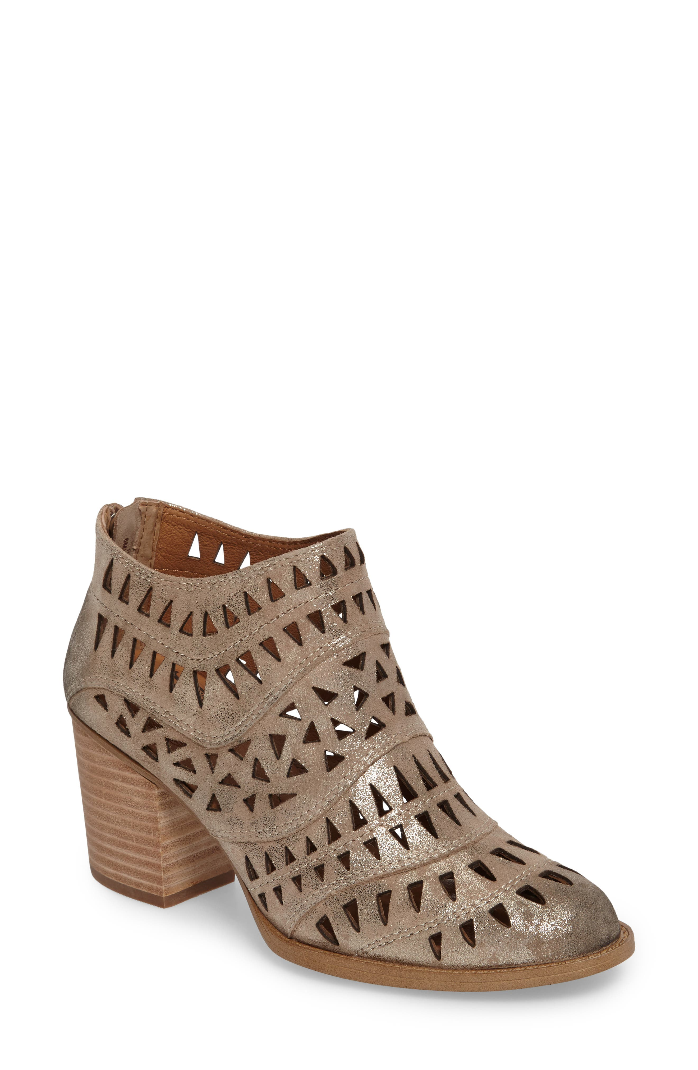 Westwood Laser Cut Bootie,                             Main thumbnail 1, color,                             Anthracite Distressed Foil
