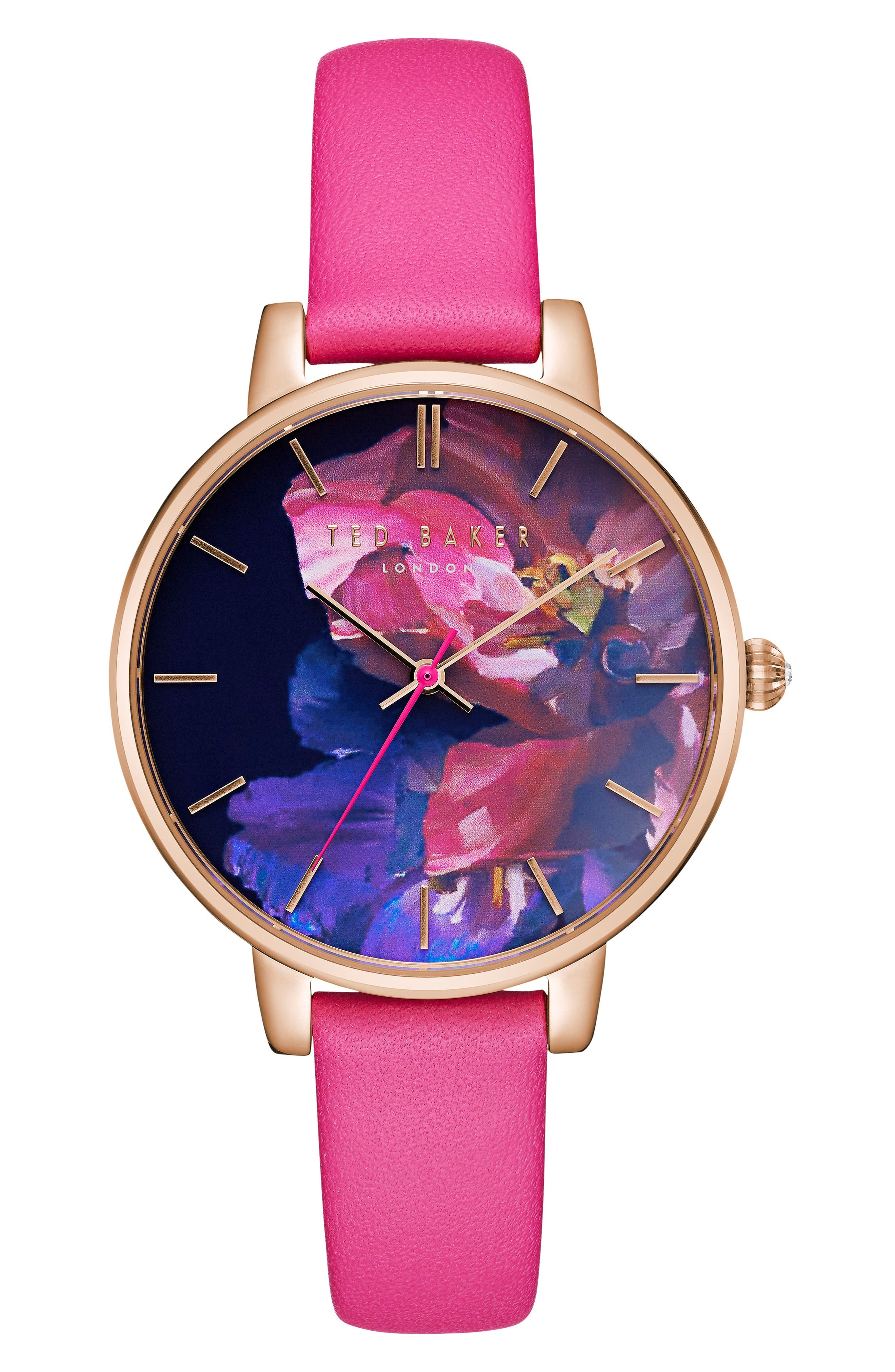 Kate Leather Strap Watch, 38mm,                         Main,                         color, Red/ Floral/ Rose Gold