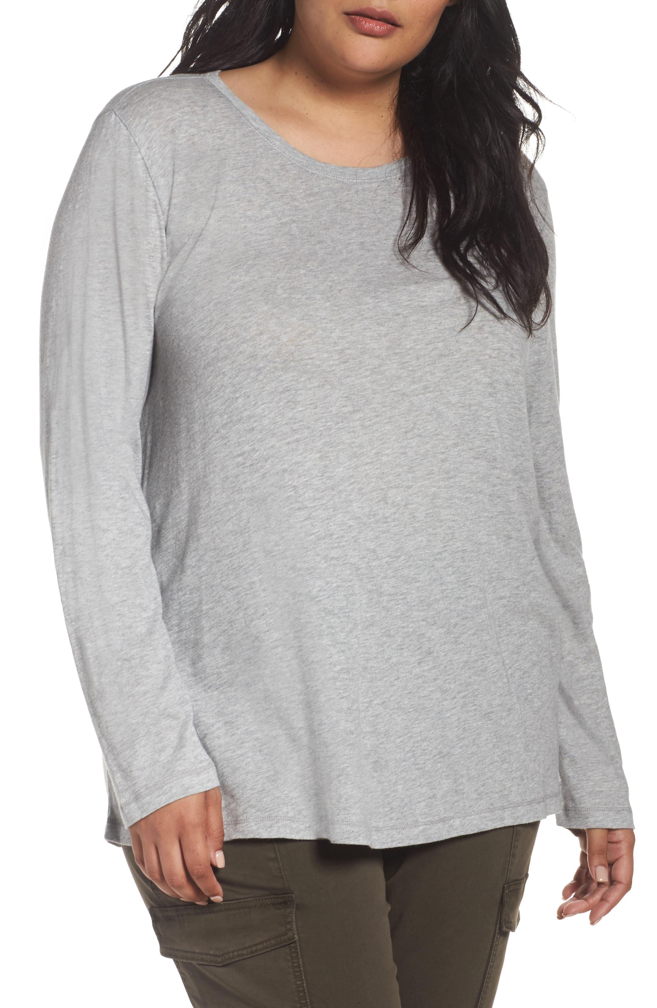 Long Sleeve Crewneck Tee,                         Main,                         color, Grey Heather