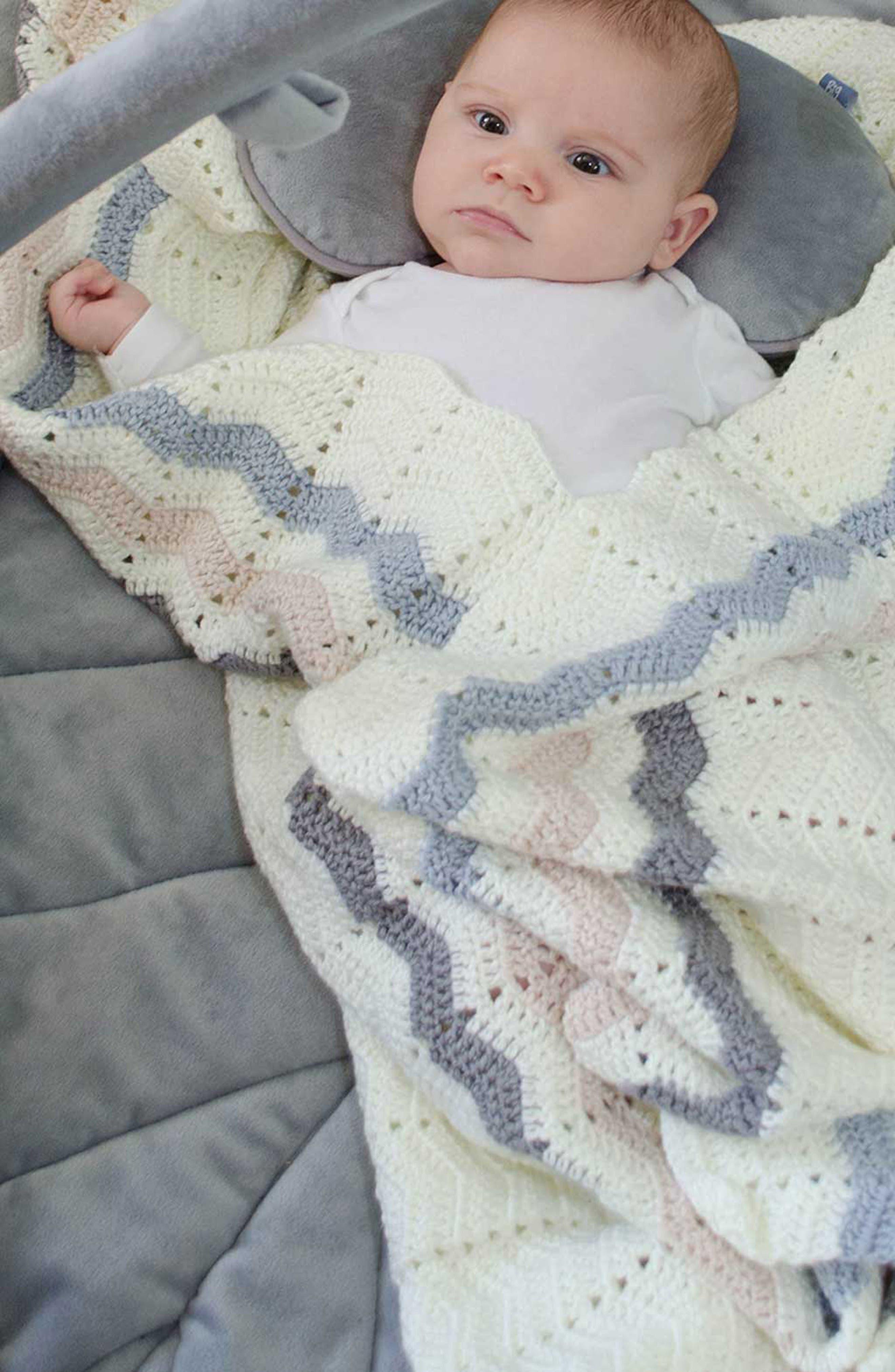 Ripple Crocheted Blanket,                             Alternate thumbnail 6, color,                             Blue