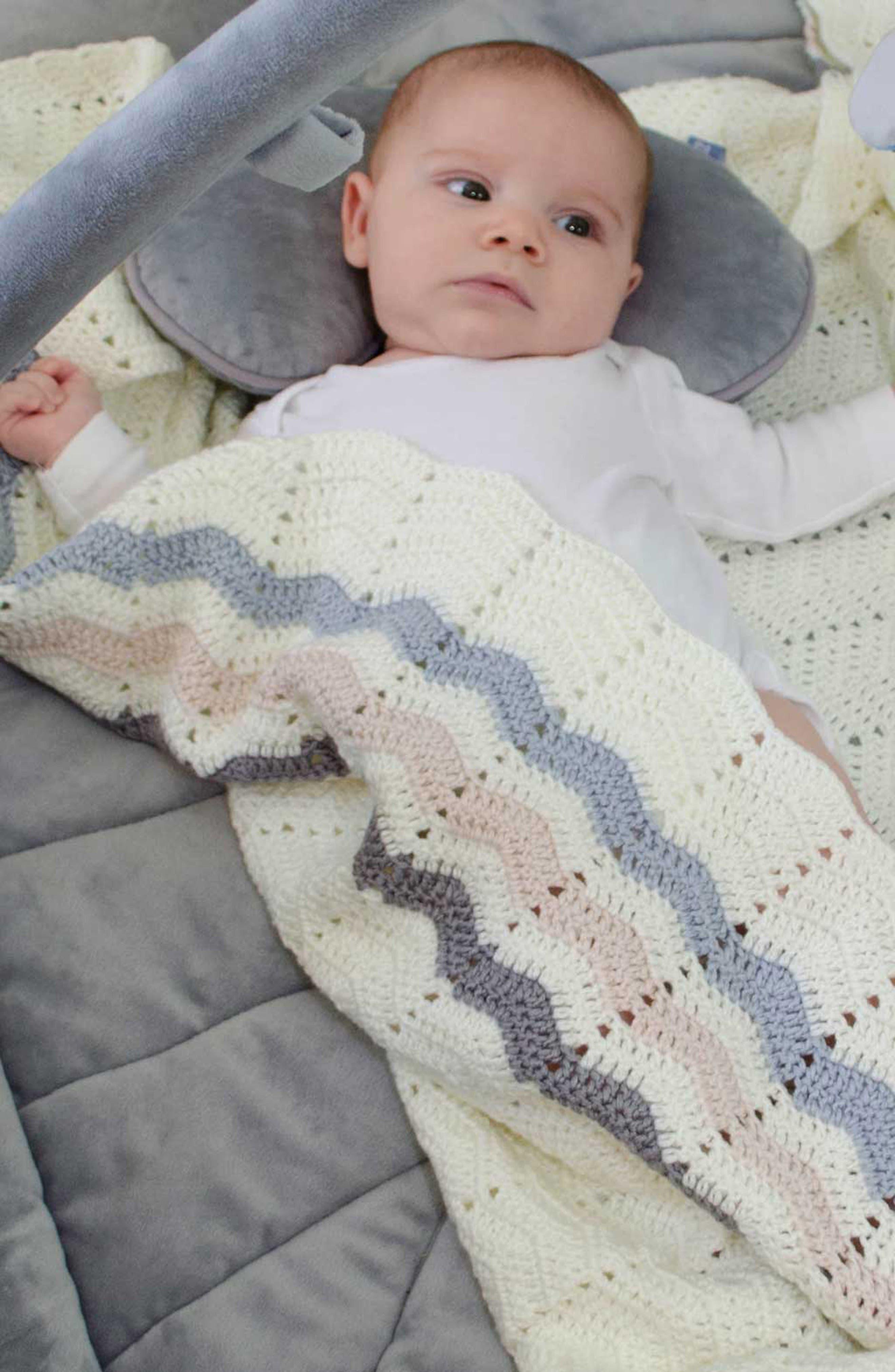 Ripple Crocheted Blanket,                             Alternate thumbnail 3, color,                             Blue