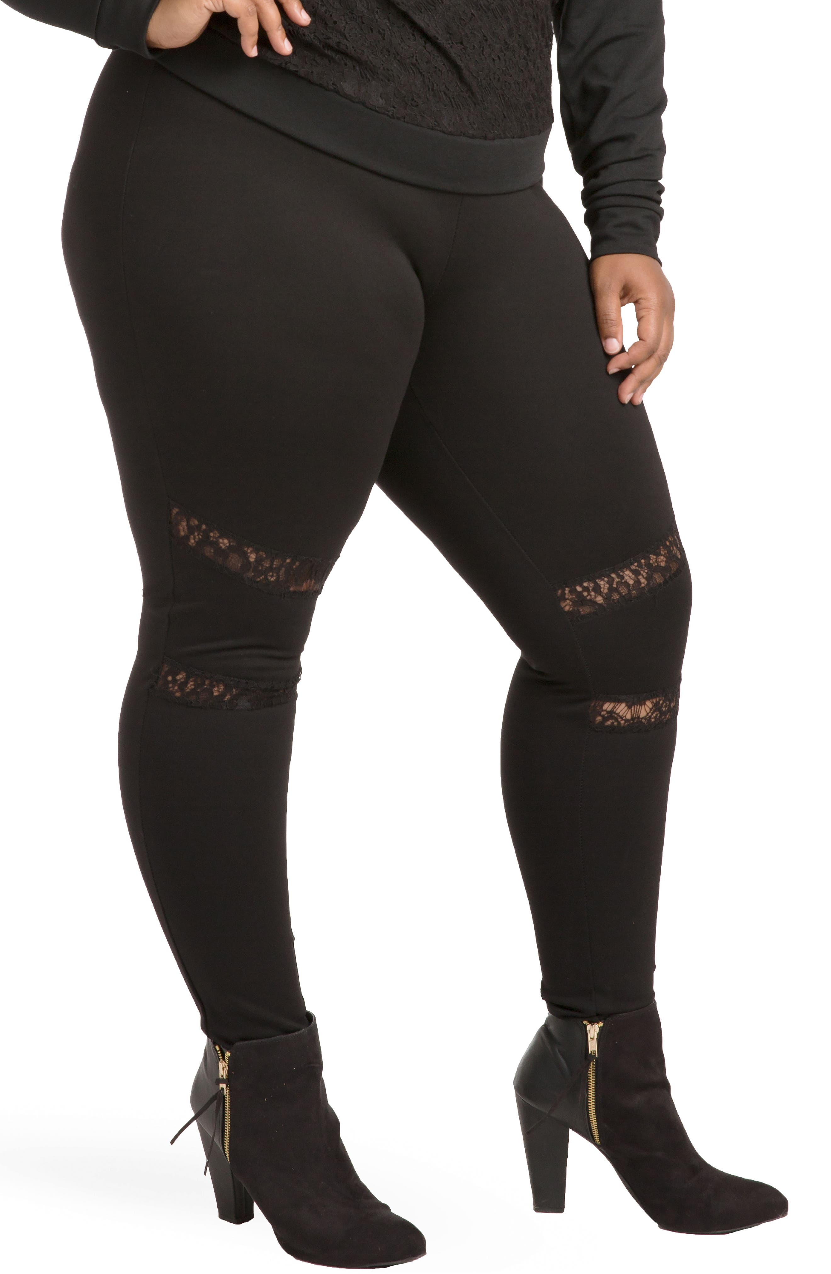 Janet Curvy Fit Leggings,                             Main thumbnail 1, color,                             Black