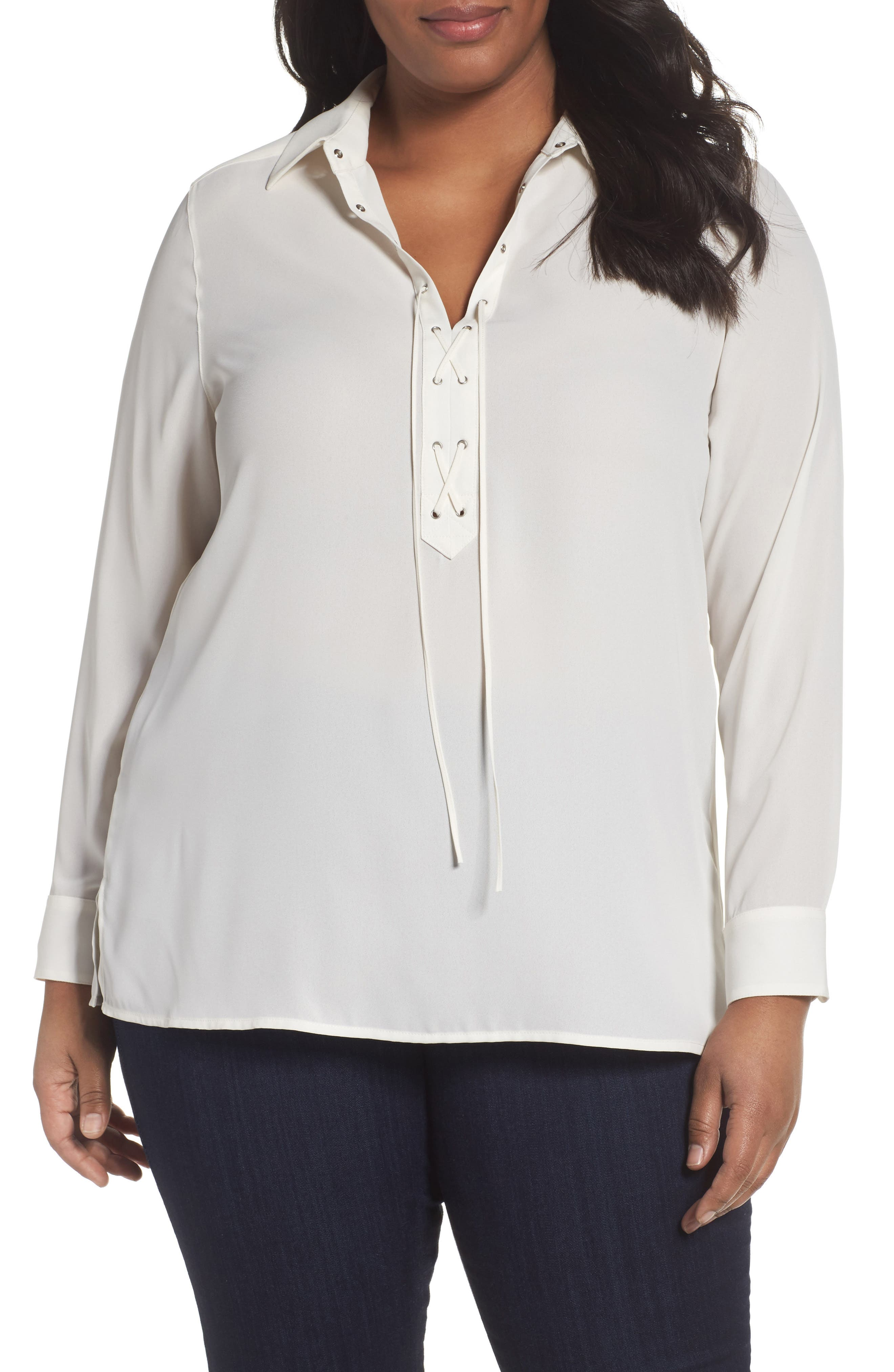 Foxcroft Lace-Up Blouse (Plus Size)