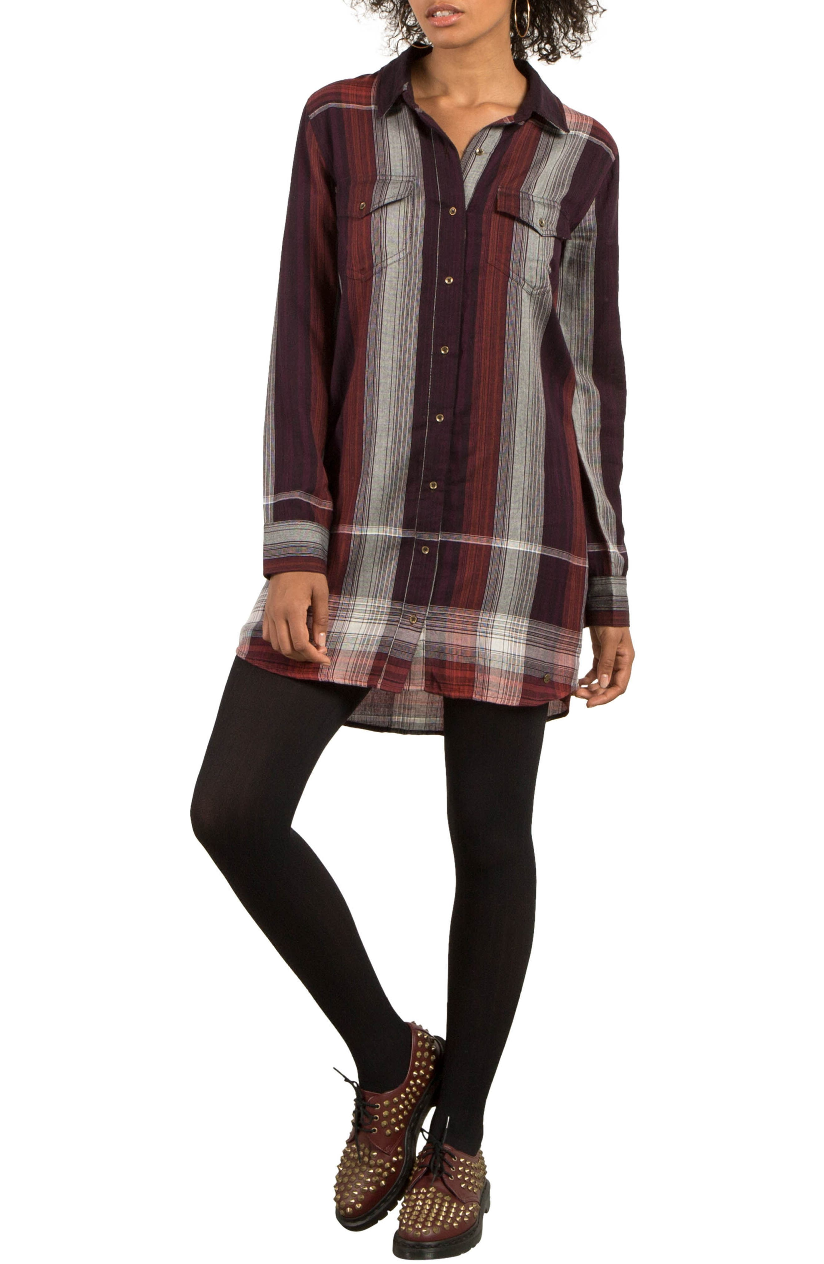 Well Plaid Shirtdress,                         Main,                         color, Plum