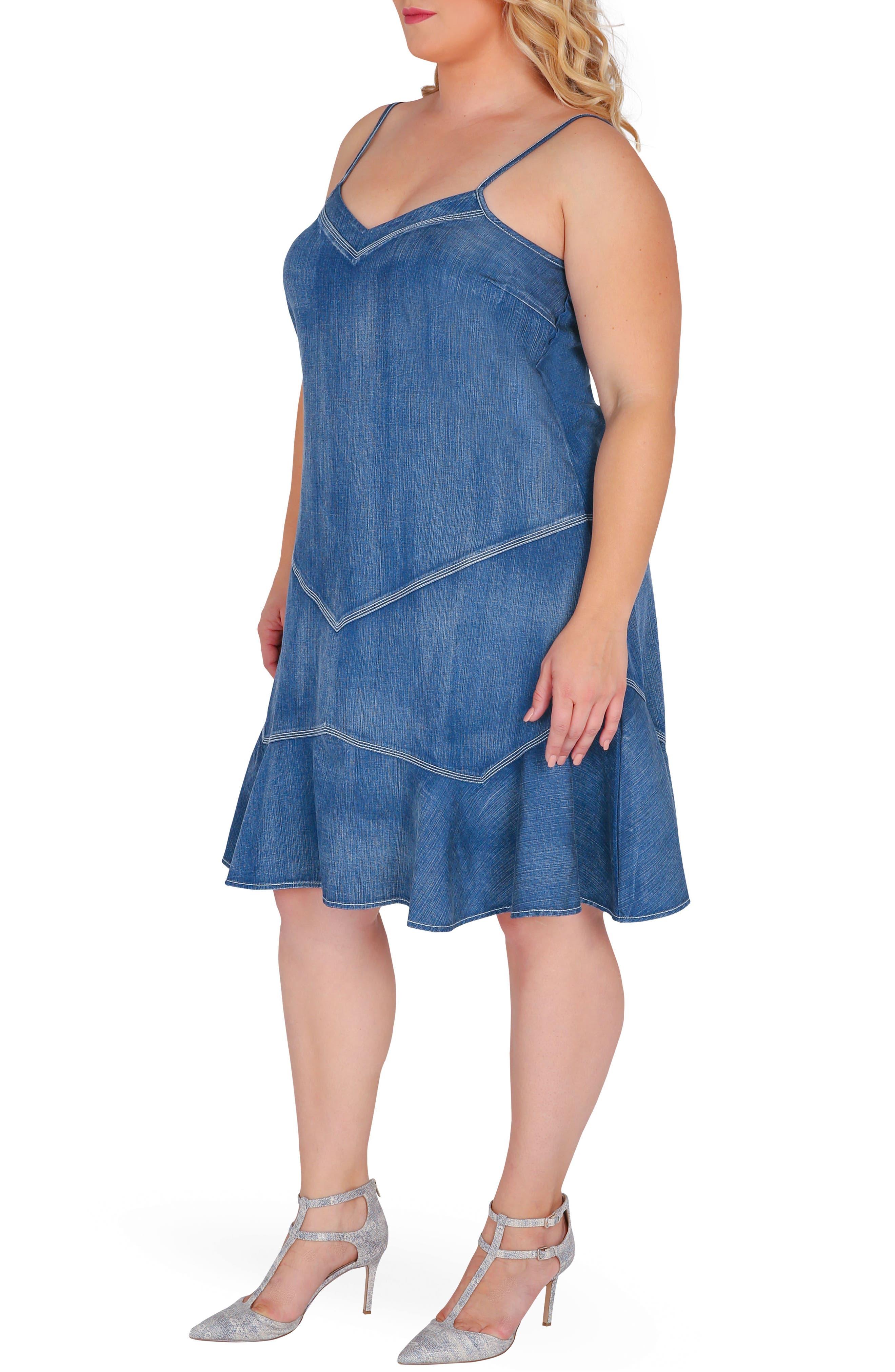 Rosie Denim Tank Dress,                             Alternate thumbnail 4, color,                             Enchanted Blue