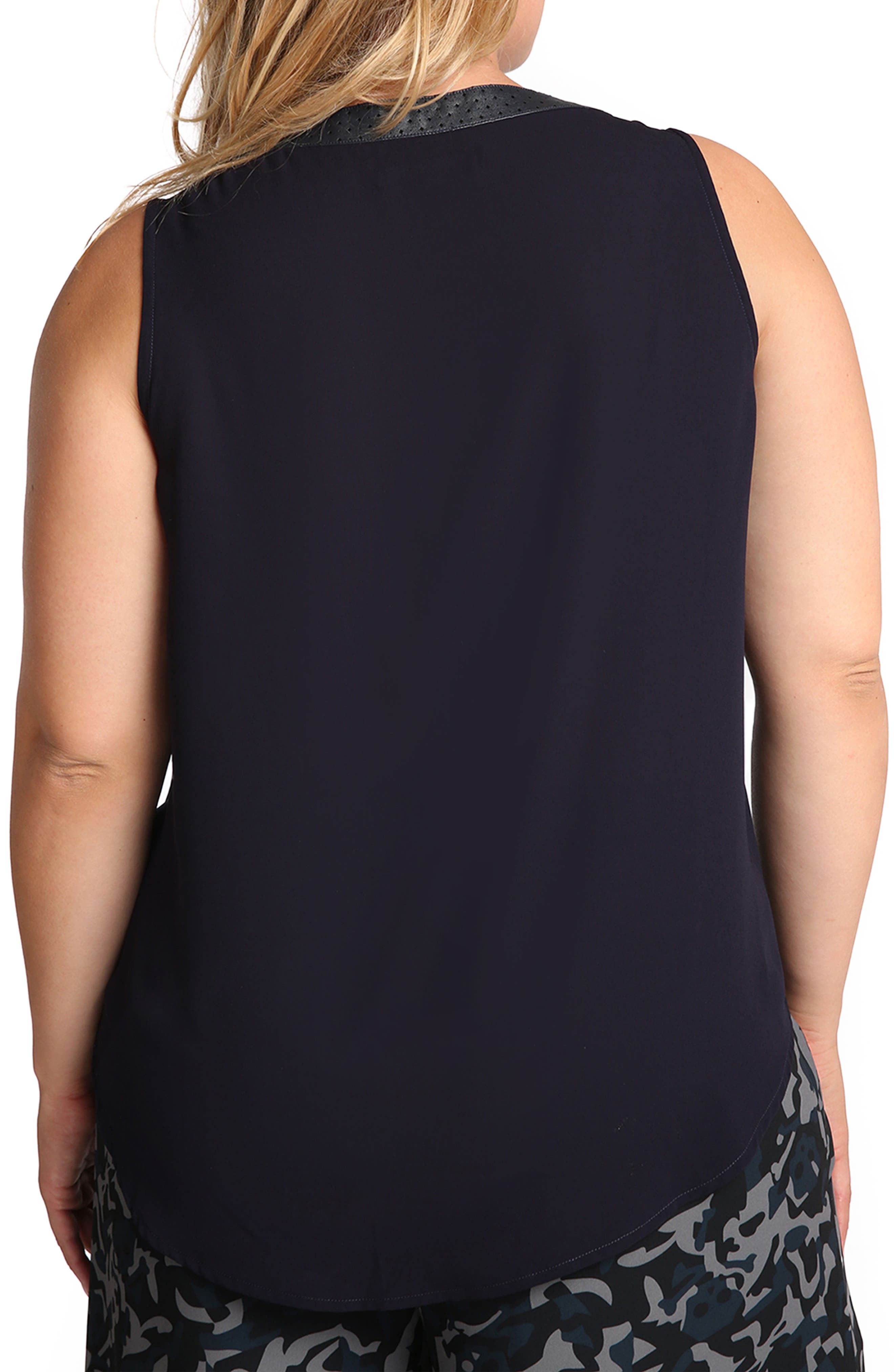 Faux Leather Trim Henley Top,                             Alternate thumbnail 3, color,                             Midnight Blue