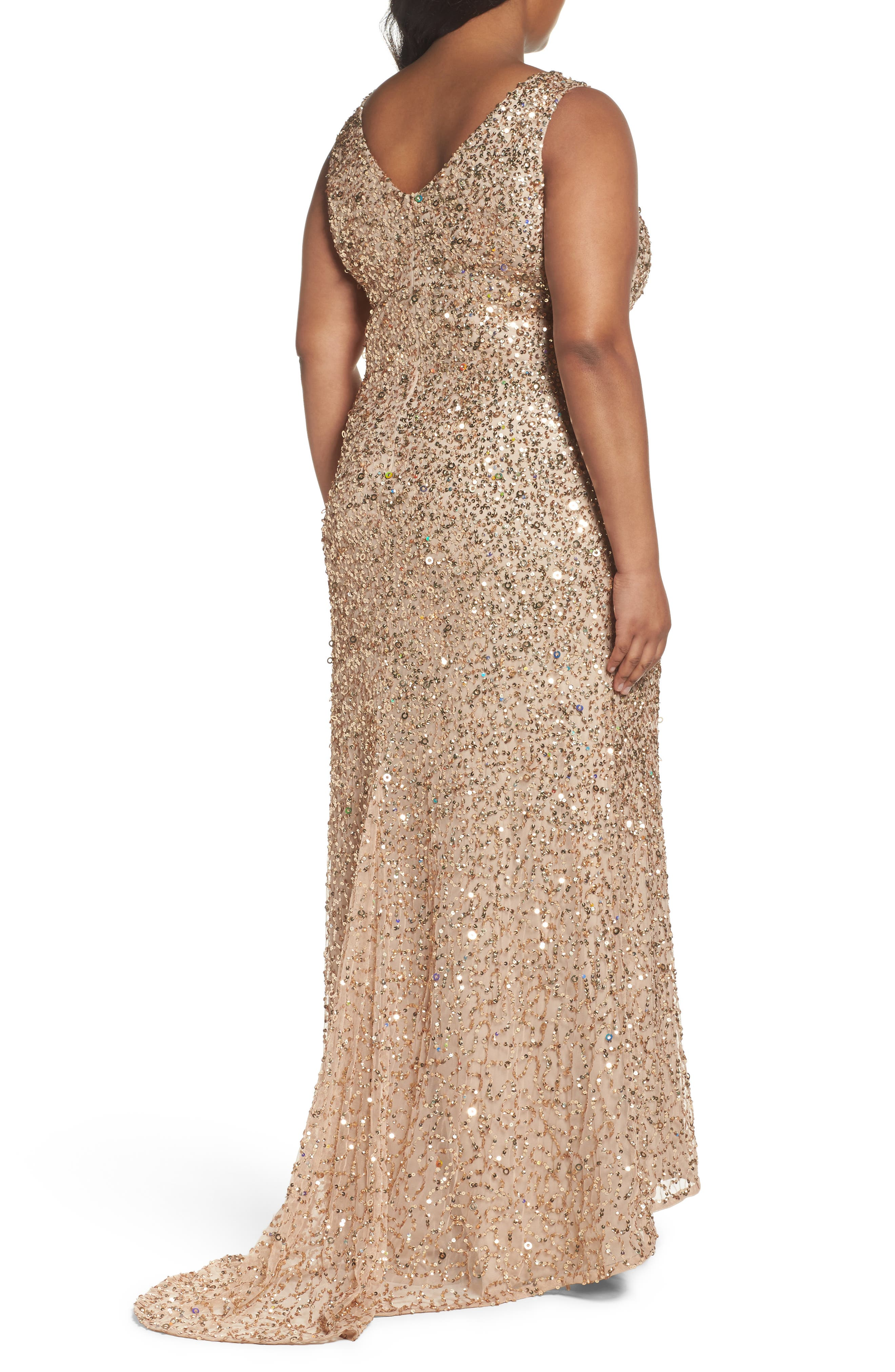 Alternate Image 2  - Adrianna Papell Sequin A-Line Gown (Plus Size)