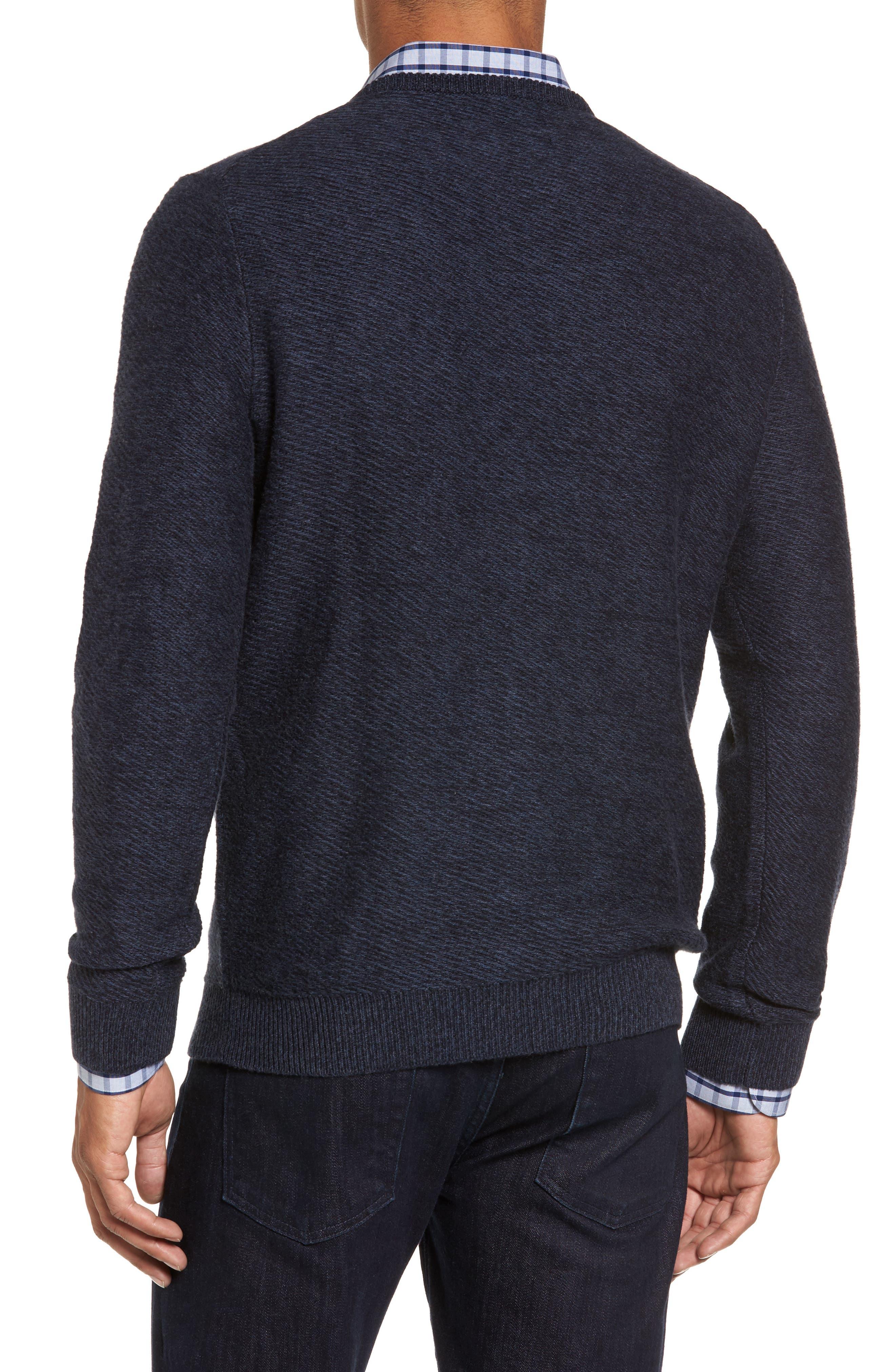 Cotton & Cashmere V-Neck Sweater,                             Alternate thumbnail 3, color,                             Navy Iris Melange