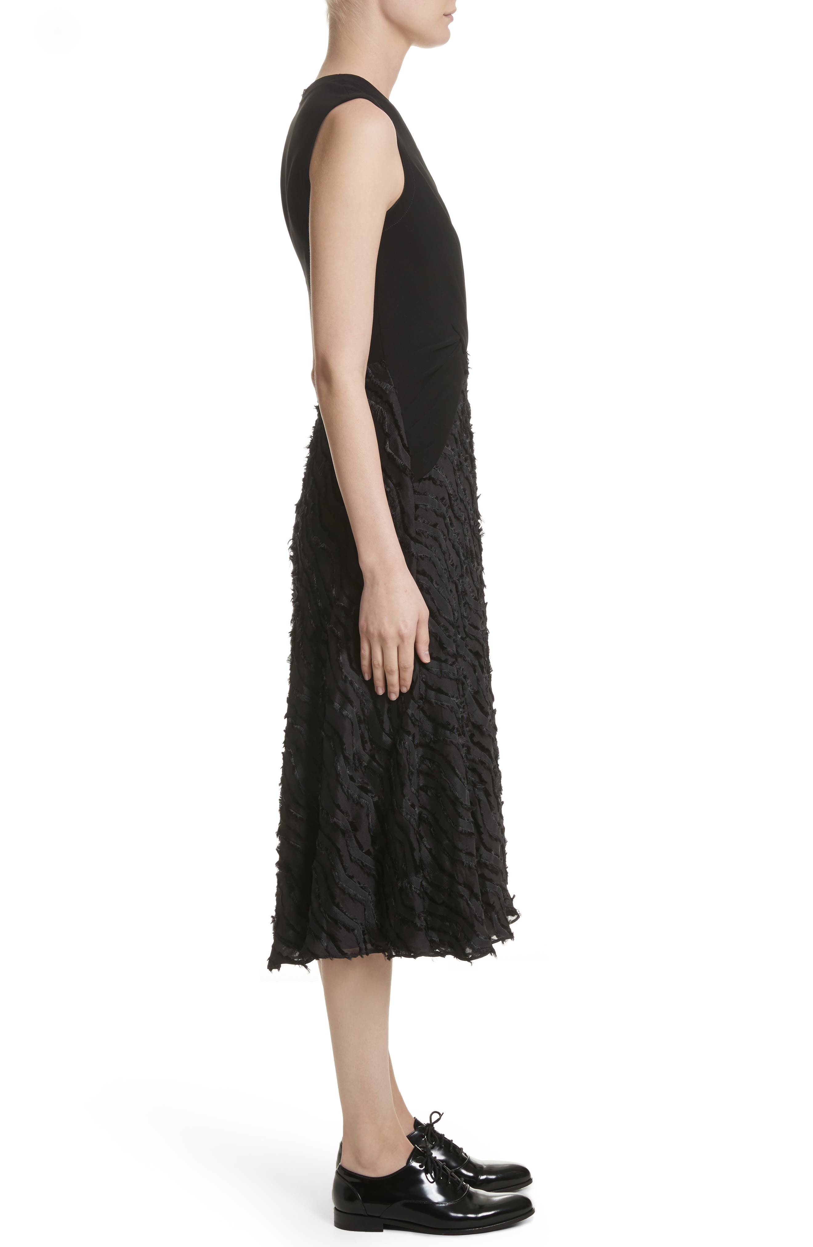 Chevron Fringe Fil Coupé Dress,                             Alternate thumbnail 3, color,                             Black