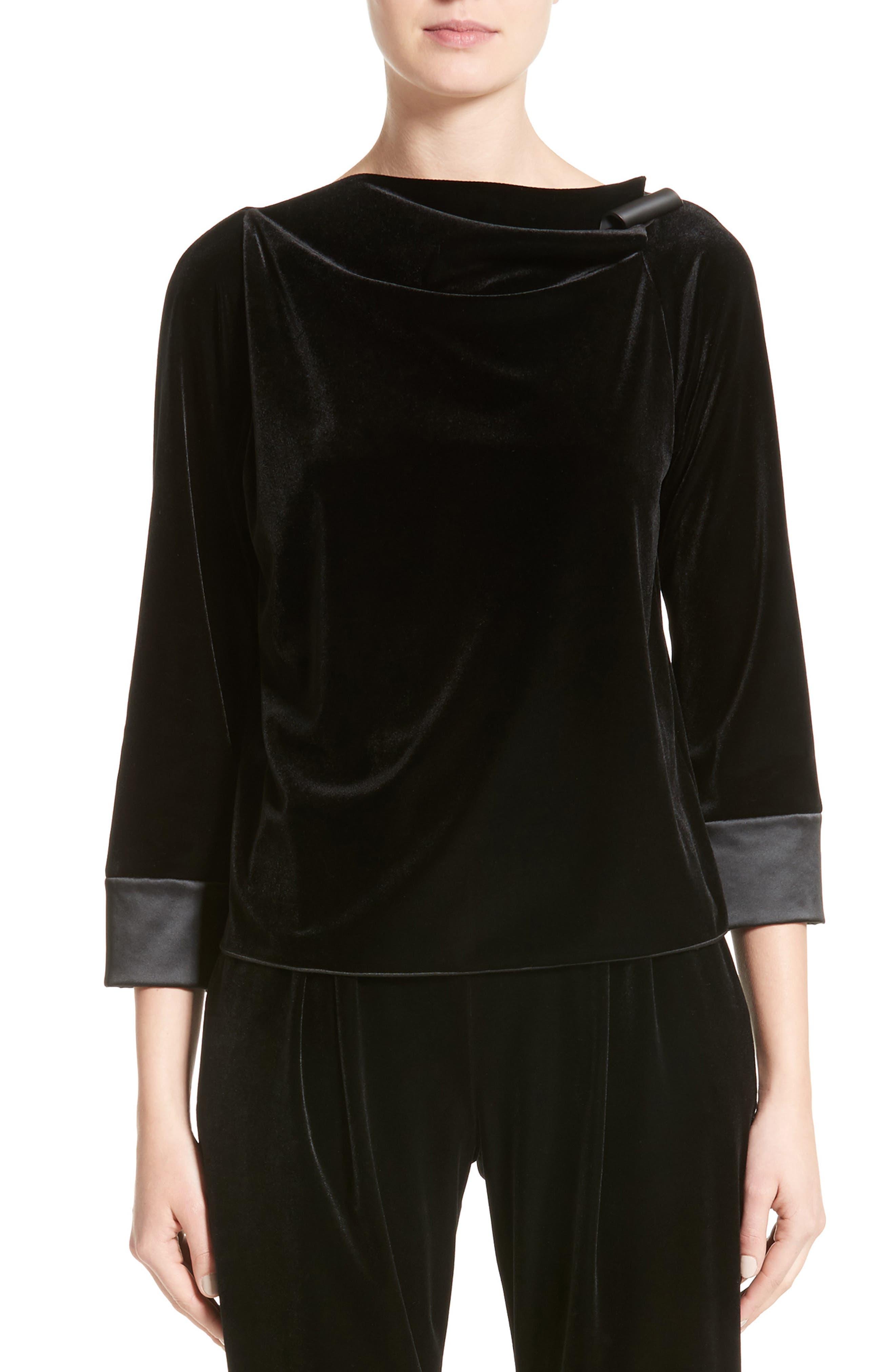 Satin Trim Stretch Velvet Top,                         Main,                         color, Black