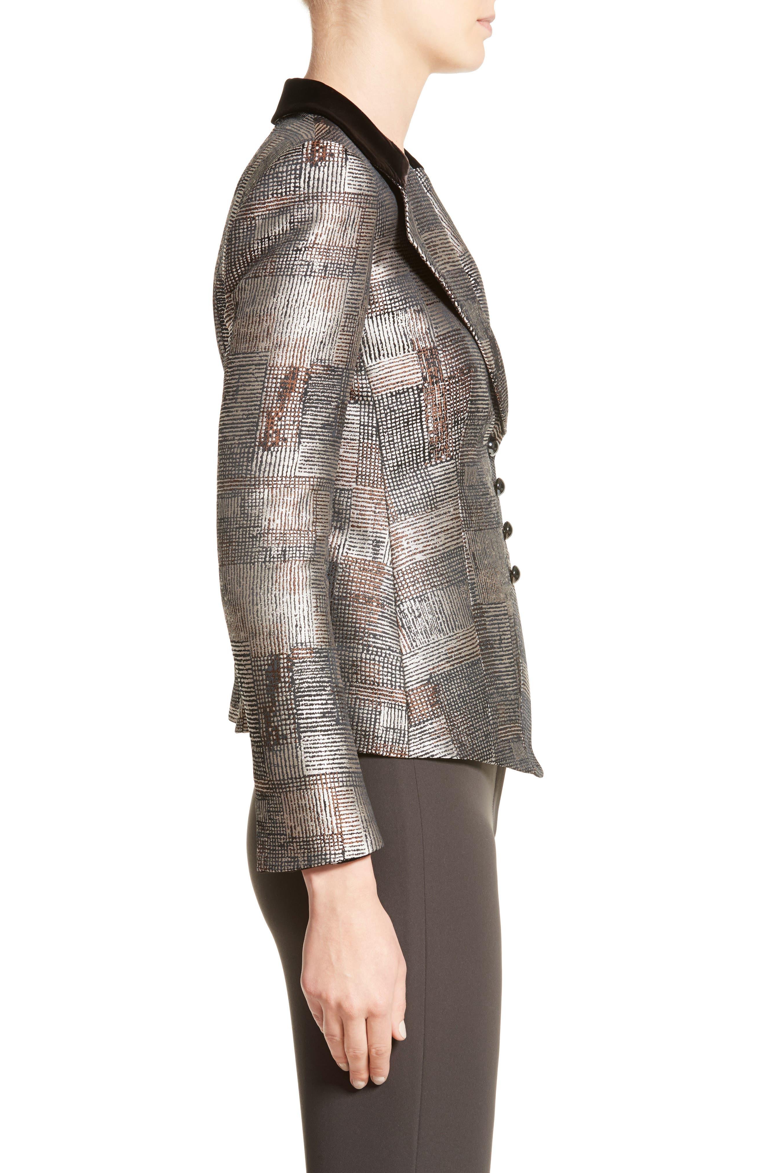 Alternate Image 5  - Armani Collezioni Panel Jacquard Asymmetrical Jacket