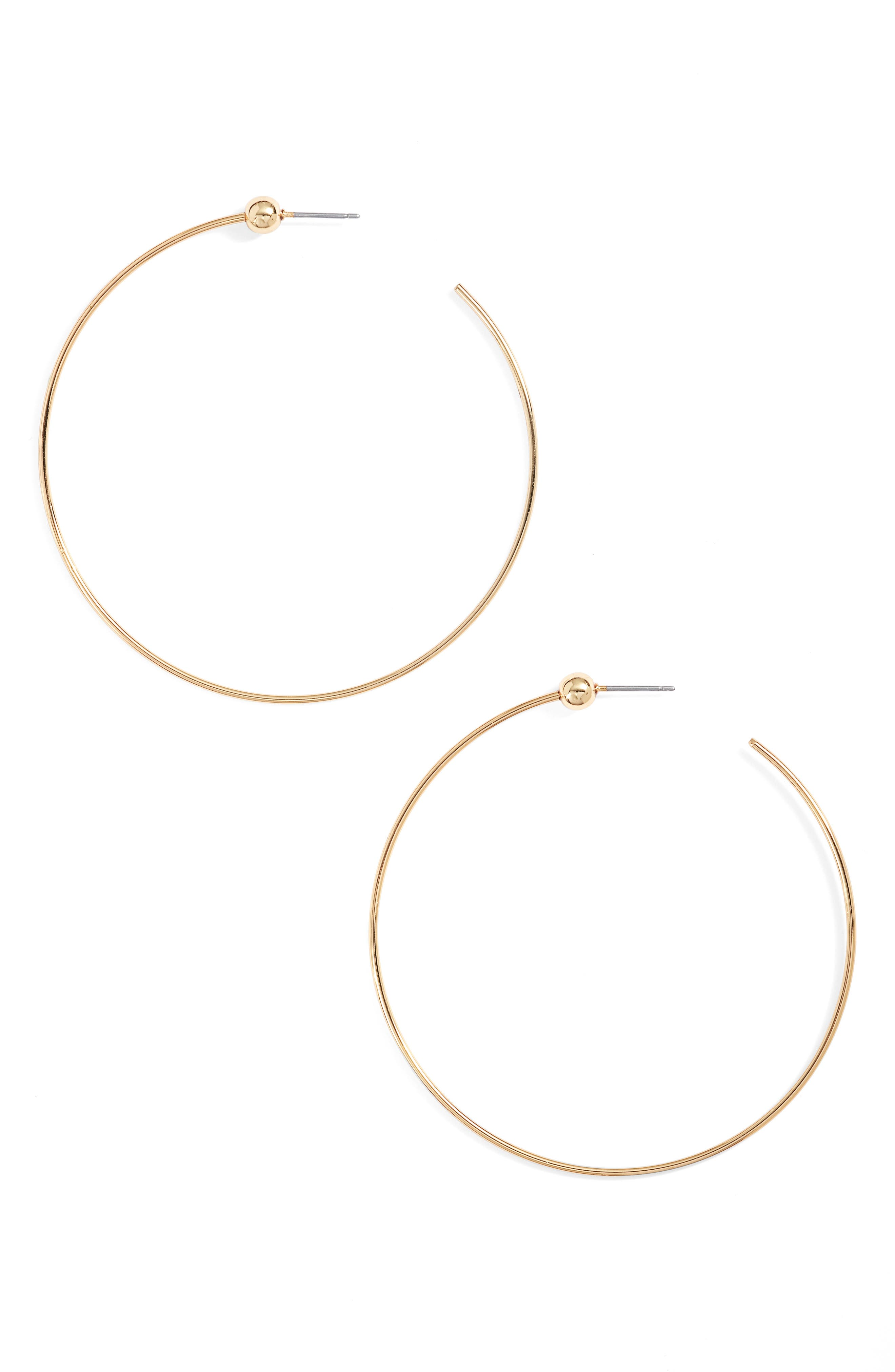 Medium Hoop Earrings,                             Main thumbnail 1, color,                             Gold
