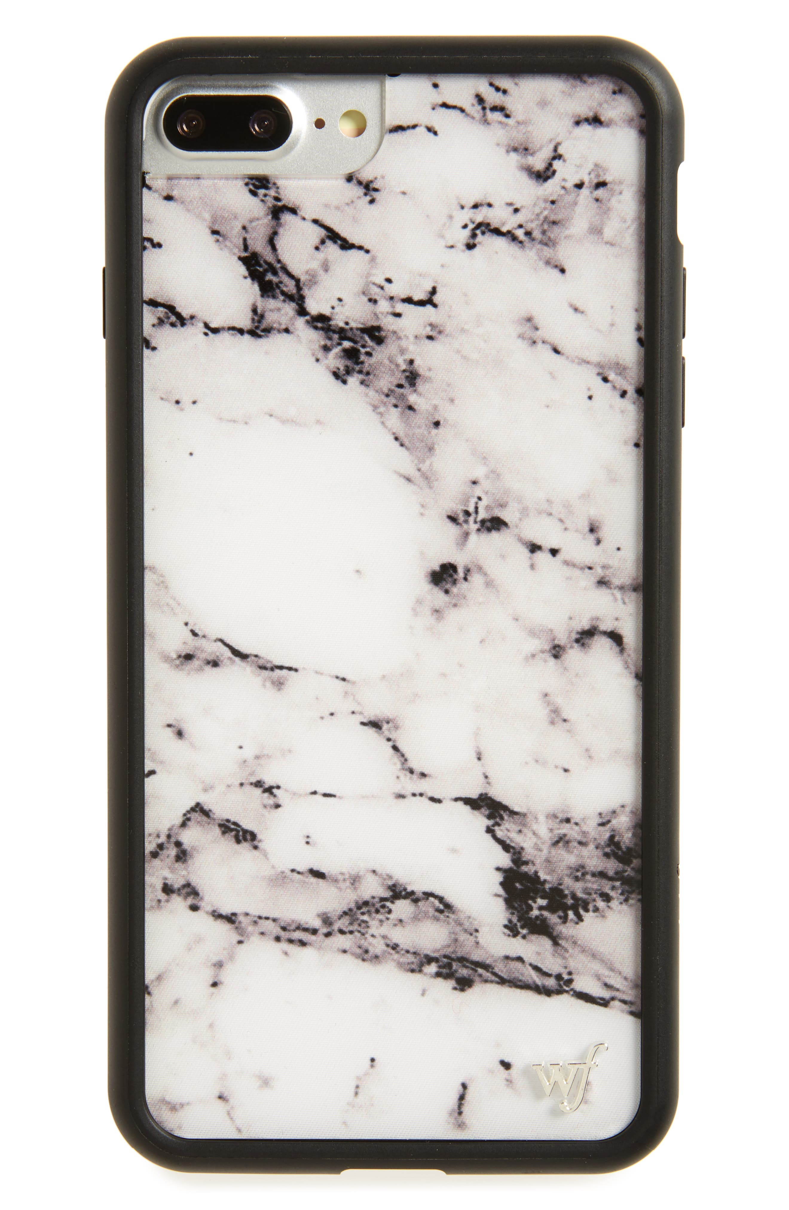 Marble iPhone 7 Plus Case,                             Main thumbnail 1, color,                             White/ Black