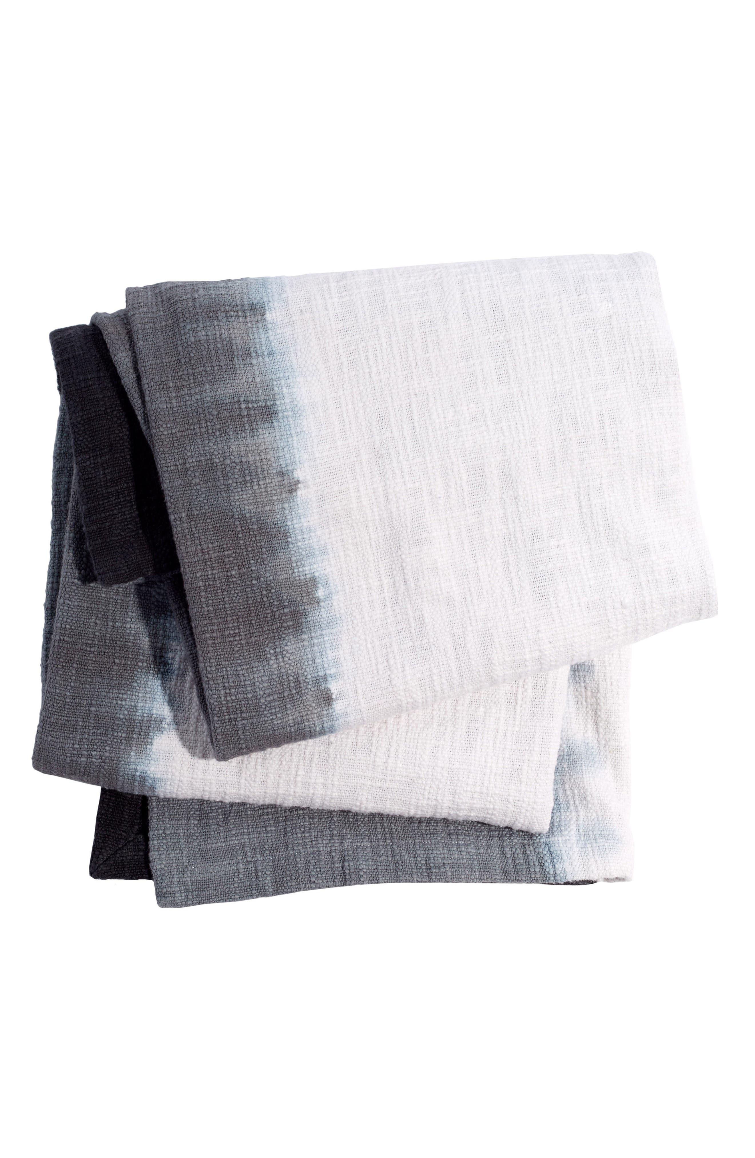 Maneka Dip Dye Throw Blanket,                         Main,                         color, Grey/ White