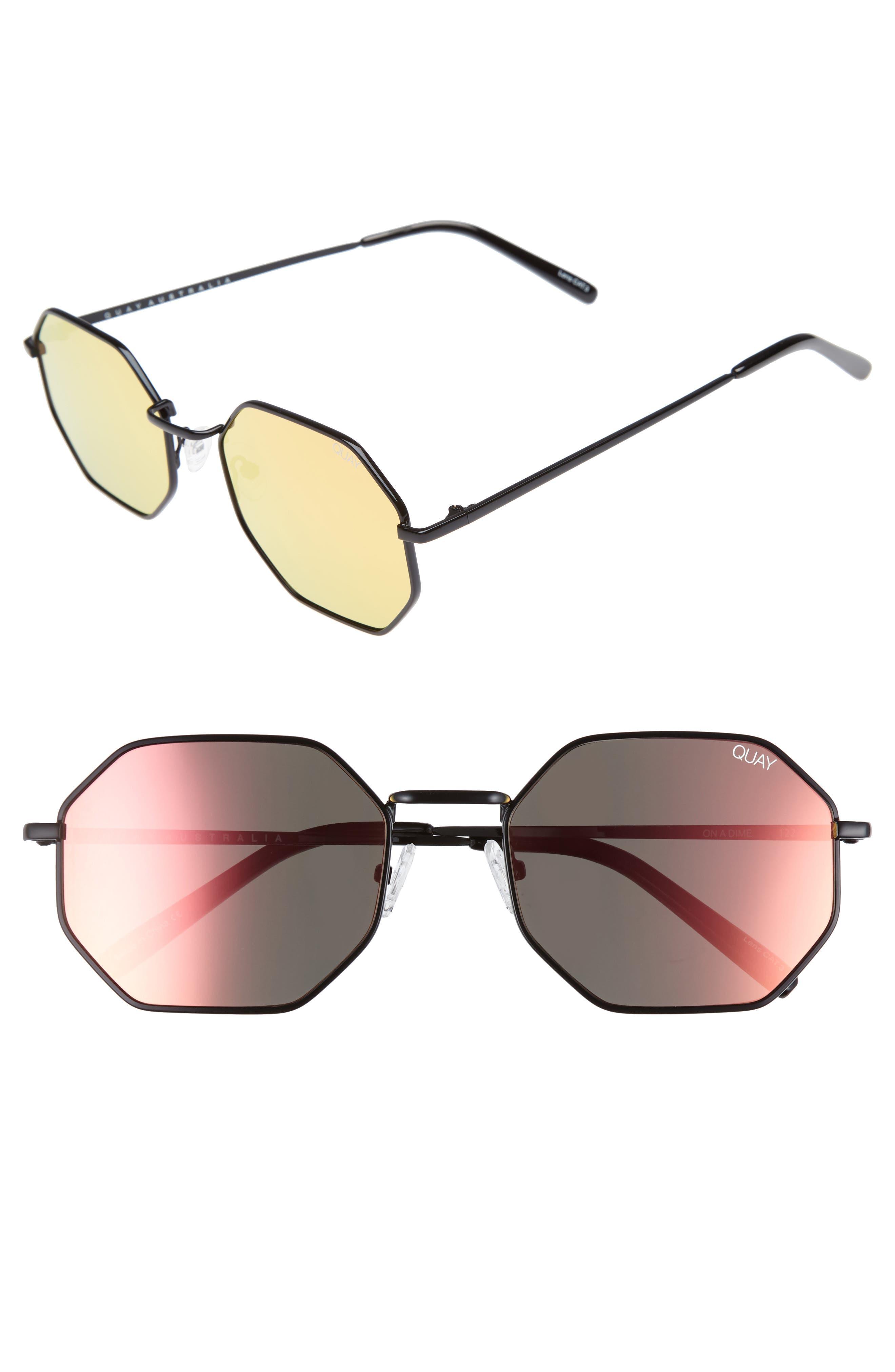 Quay Australia On a Dime 56mm Mirrored Aviator Sunglasses