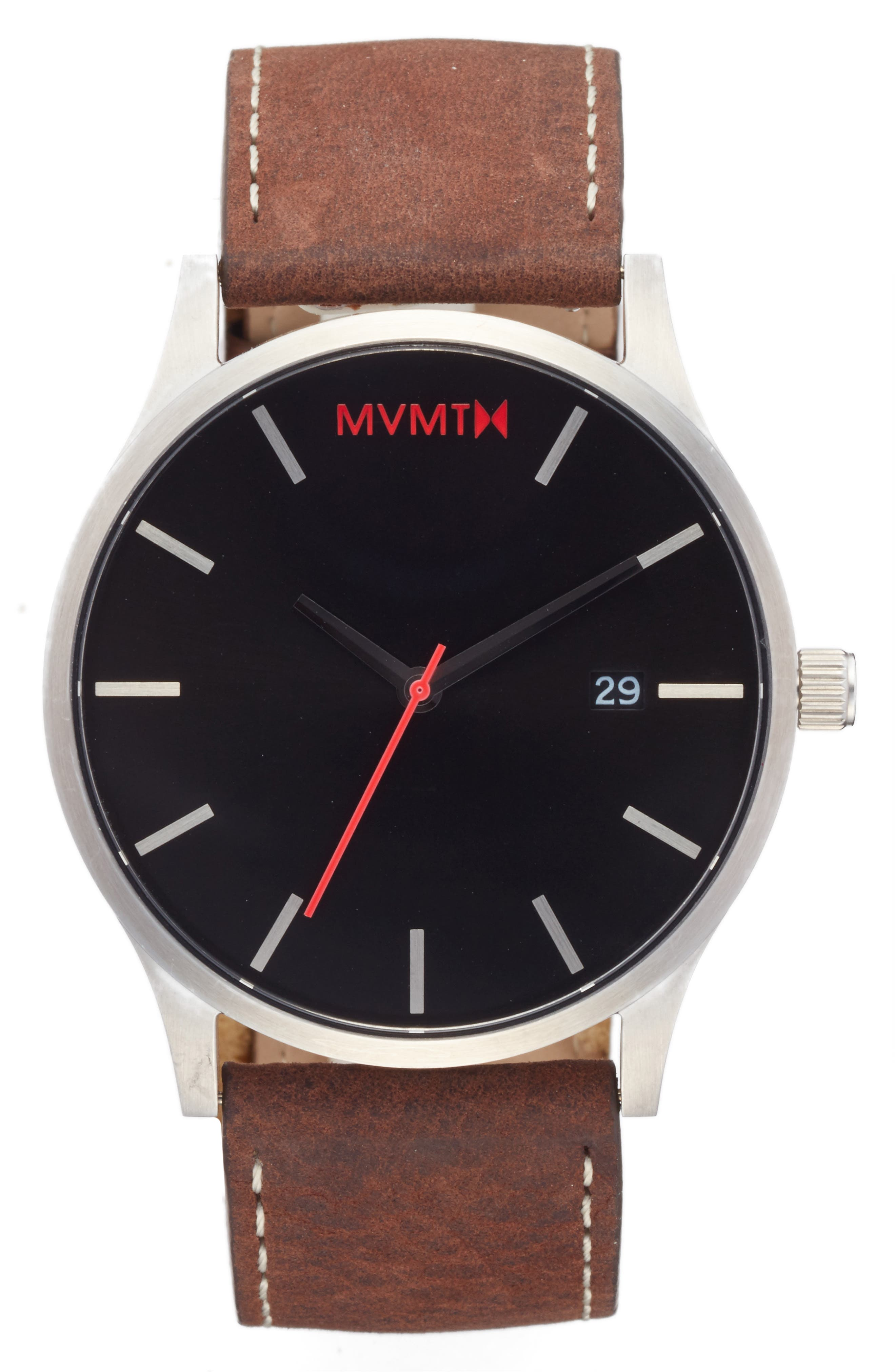 The Classic Leather Strap Watch, 45mm,                         Main,                         color, Black/ Brown