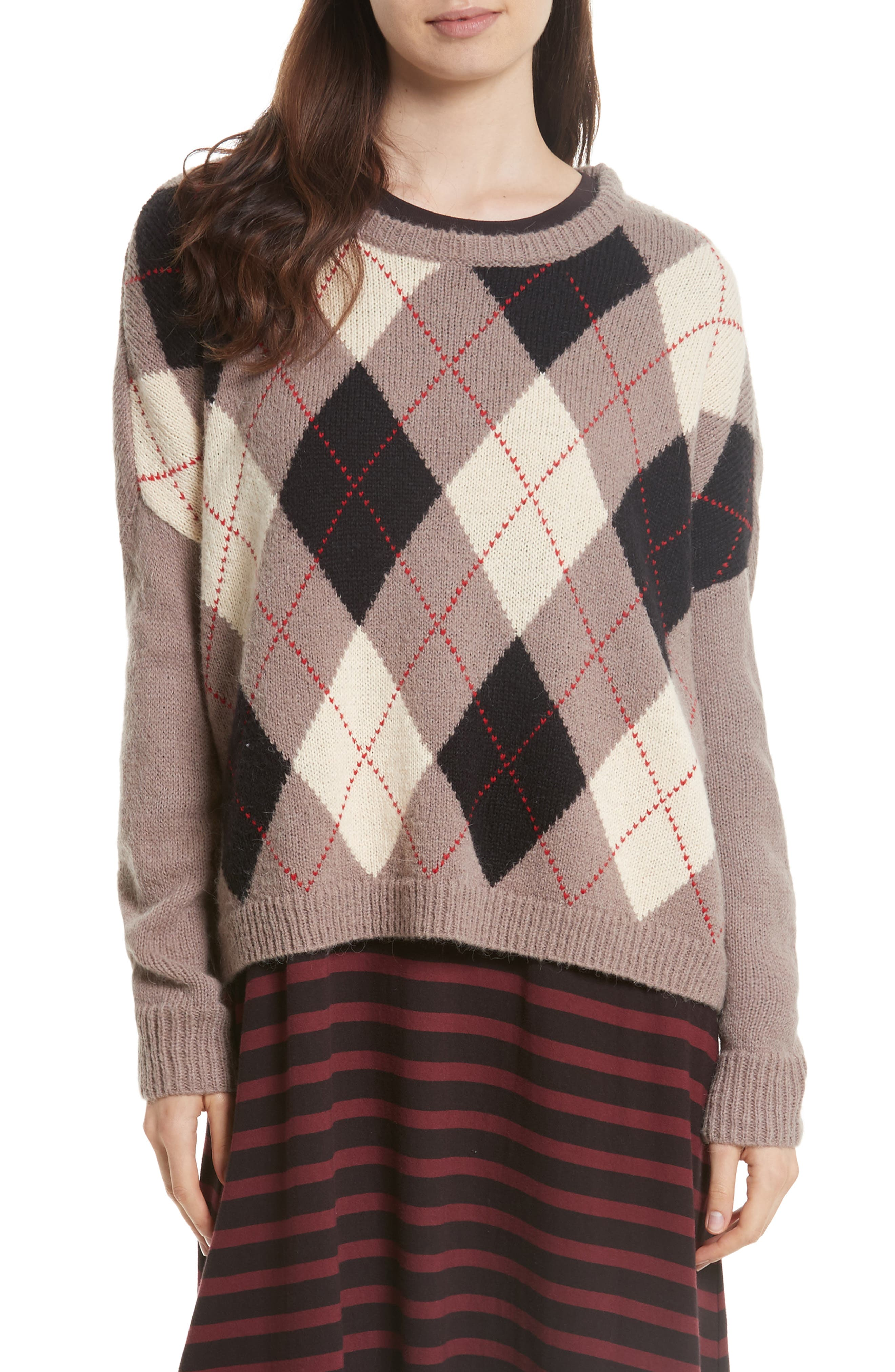 The Argyle Crew Sweater,                         Main,                         color, Prep School Argyle