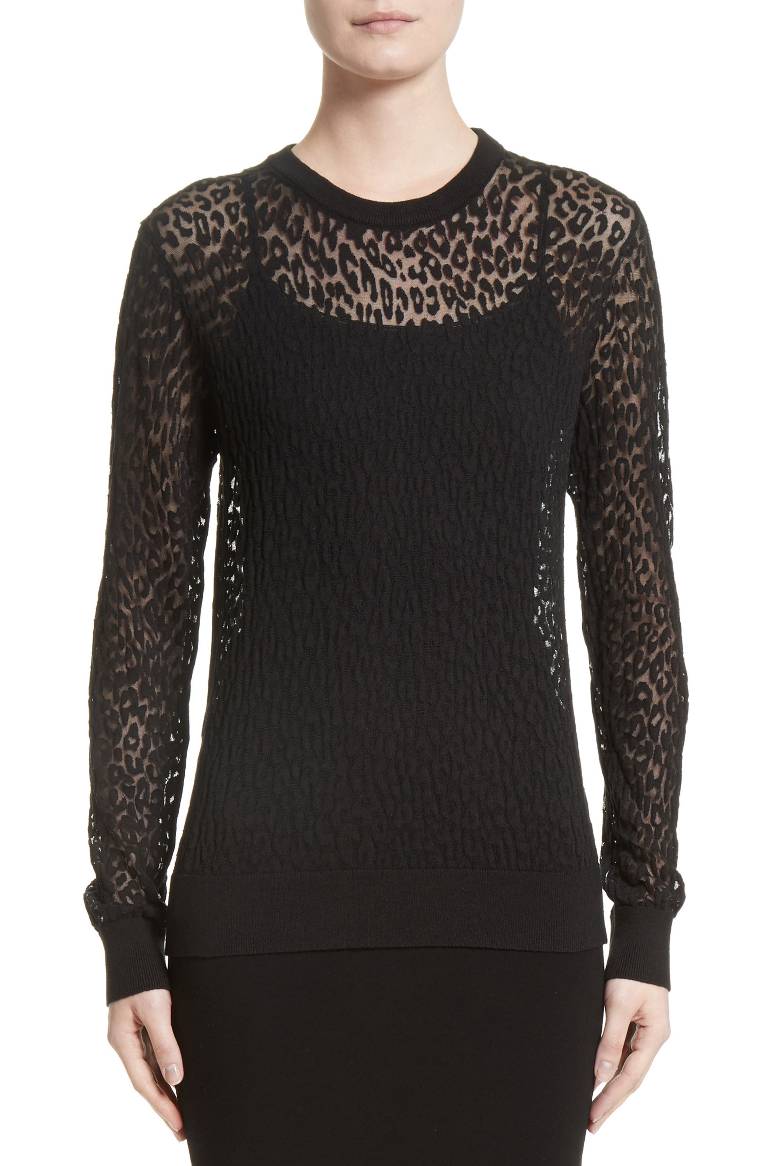 Alternate Image 1 Selected - Michael Kors Burnout Leopard Sweater