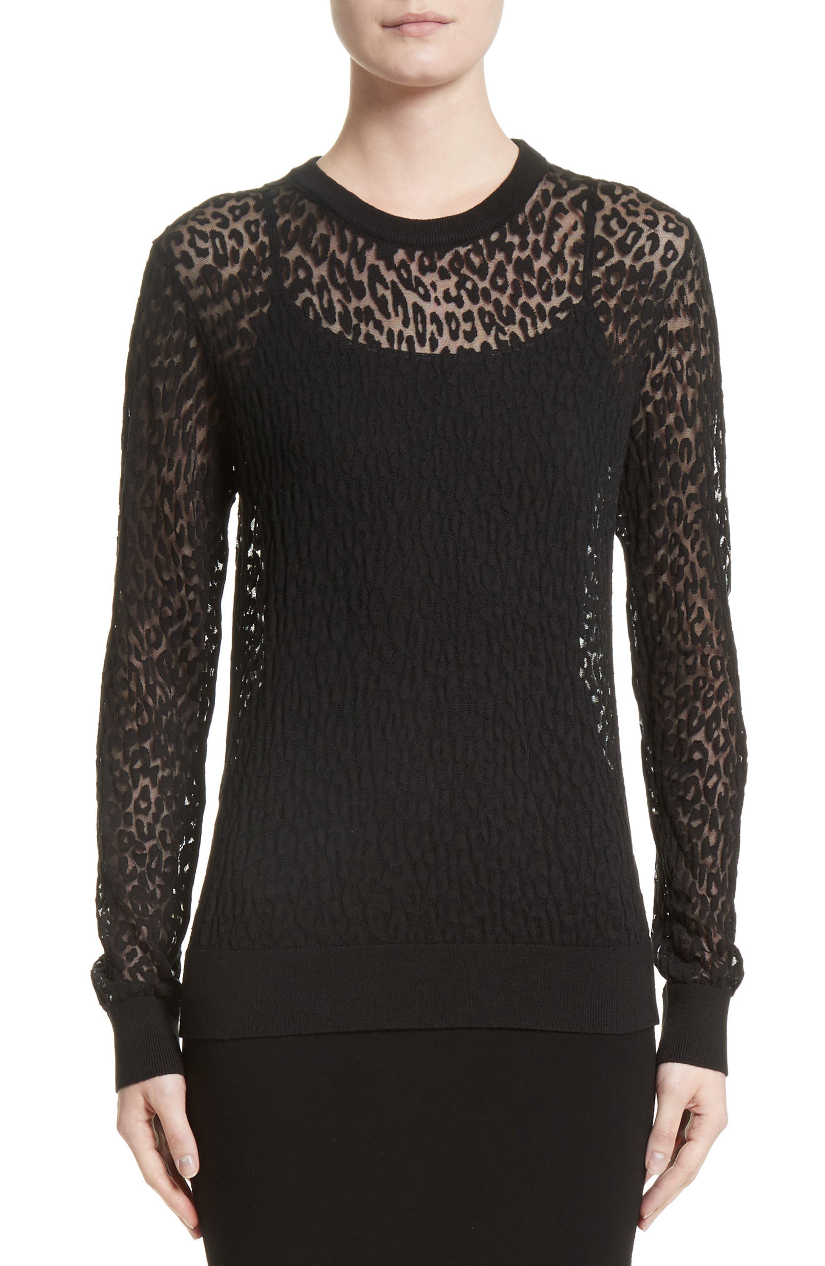 Main Image - Michael Kors Burnout Leopard Sweater