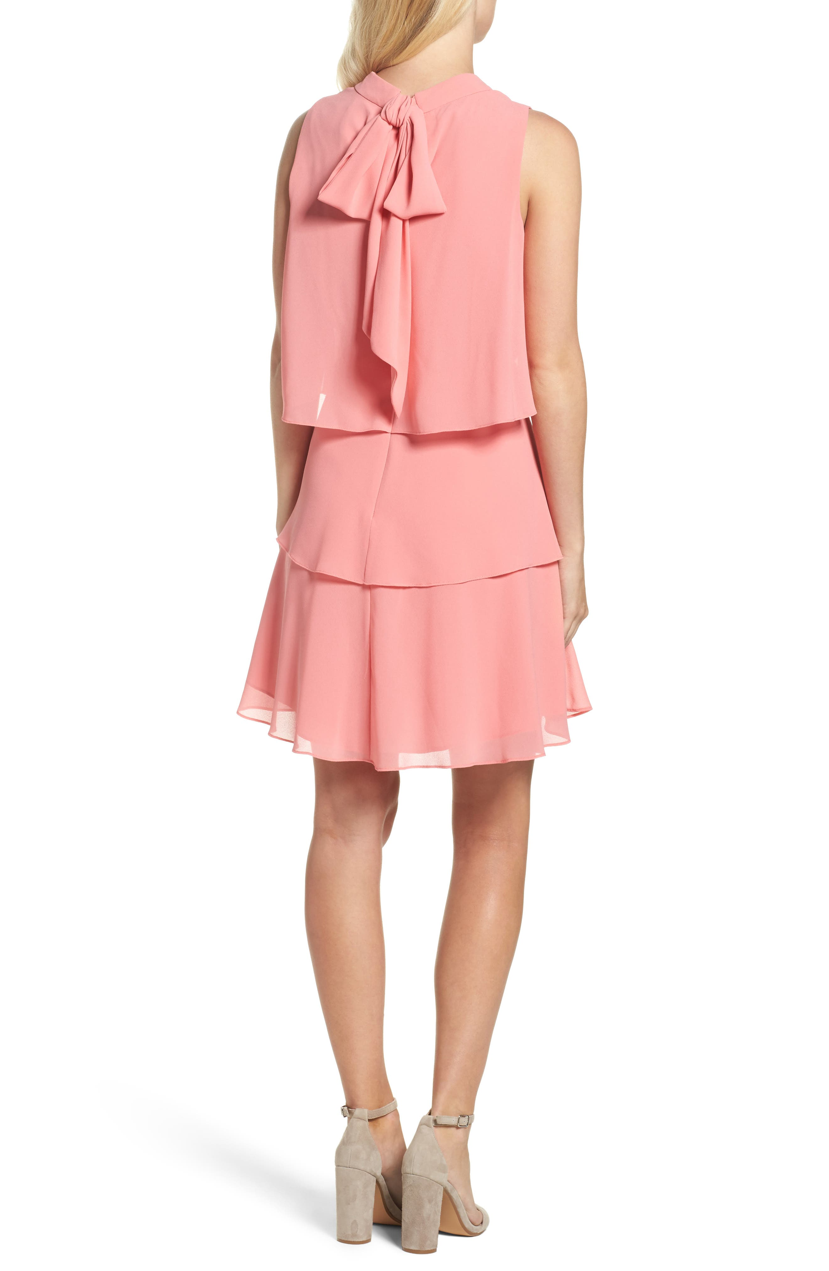 Tiered Chiffon Dress,                             Alternate thumbnail 2, color,                             Guava