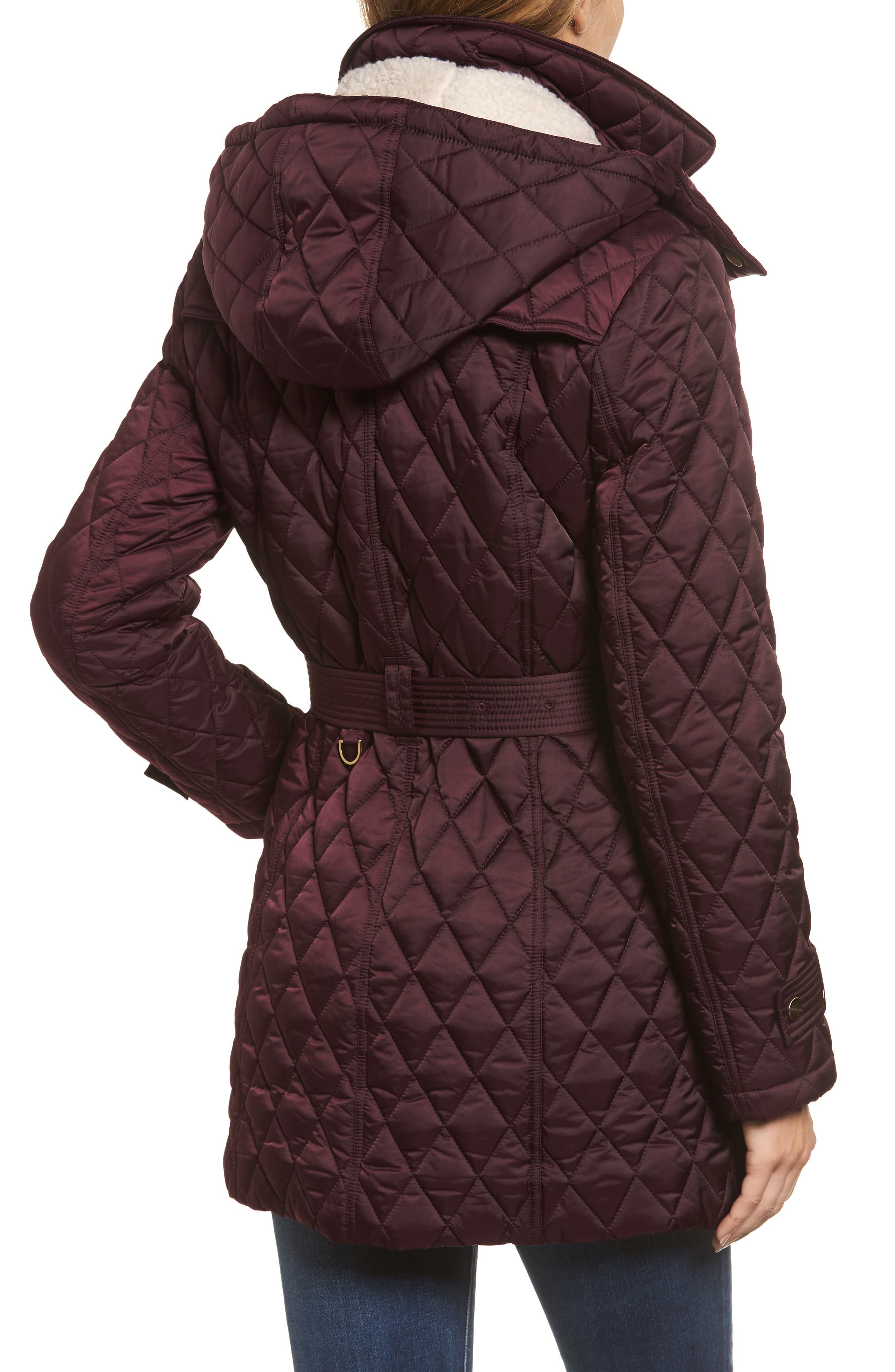 Alternate Image 2  - London Fog Quilted Coat with Faux Shearling Lining
