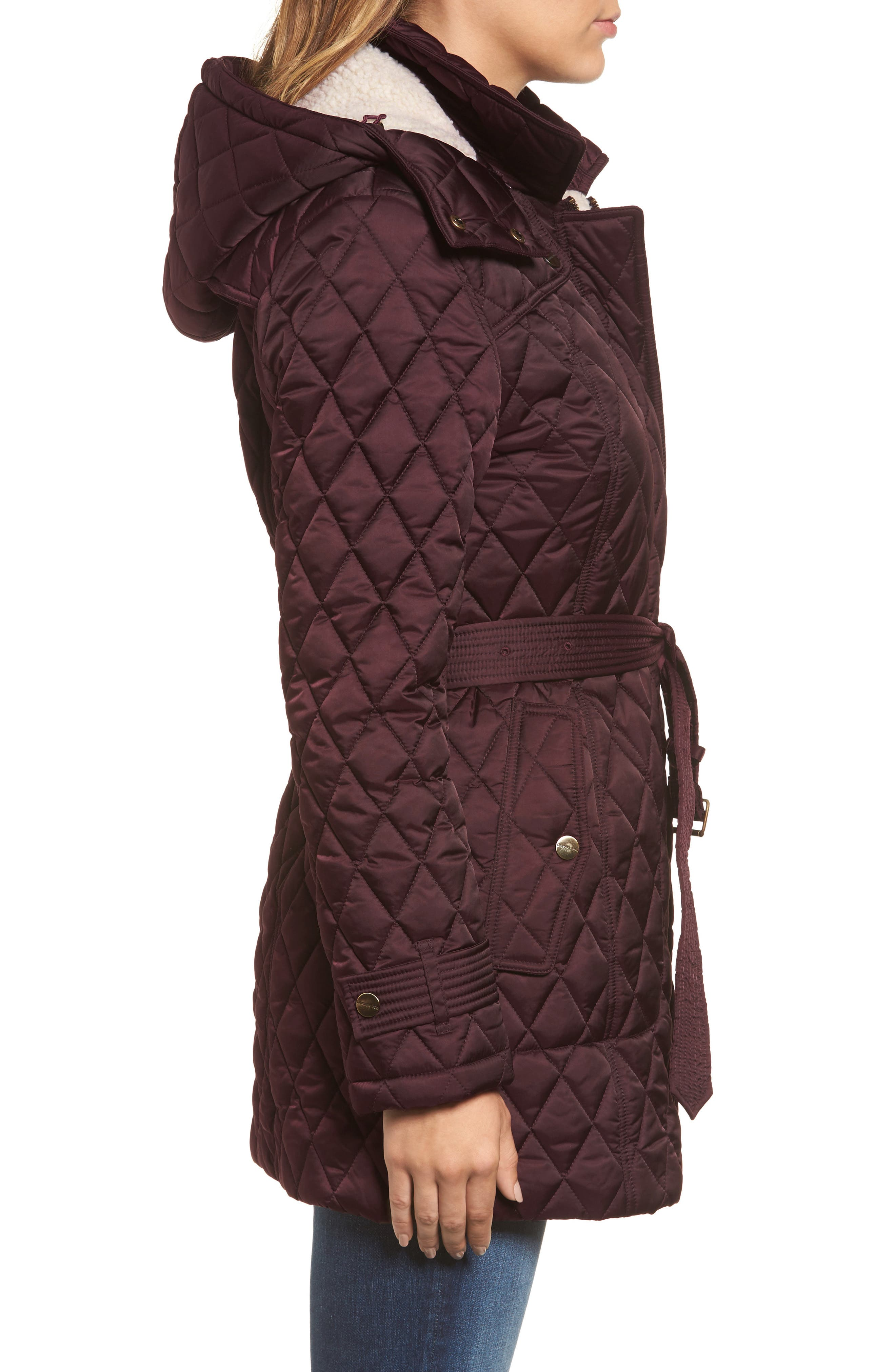 Alternate Image 3  - London Fog Quilted Coat with Faux Shearling Lining