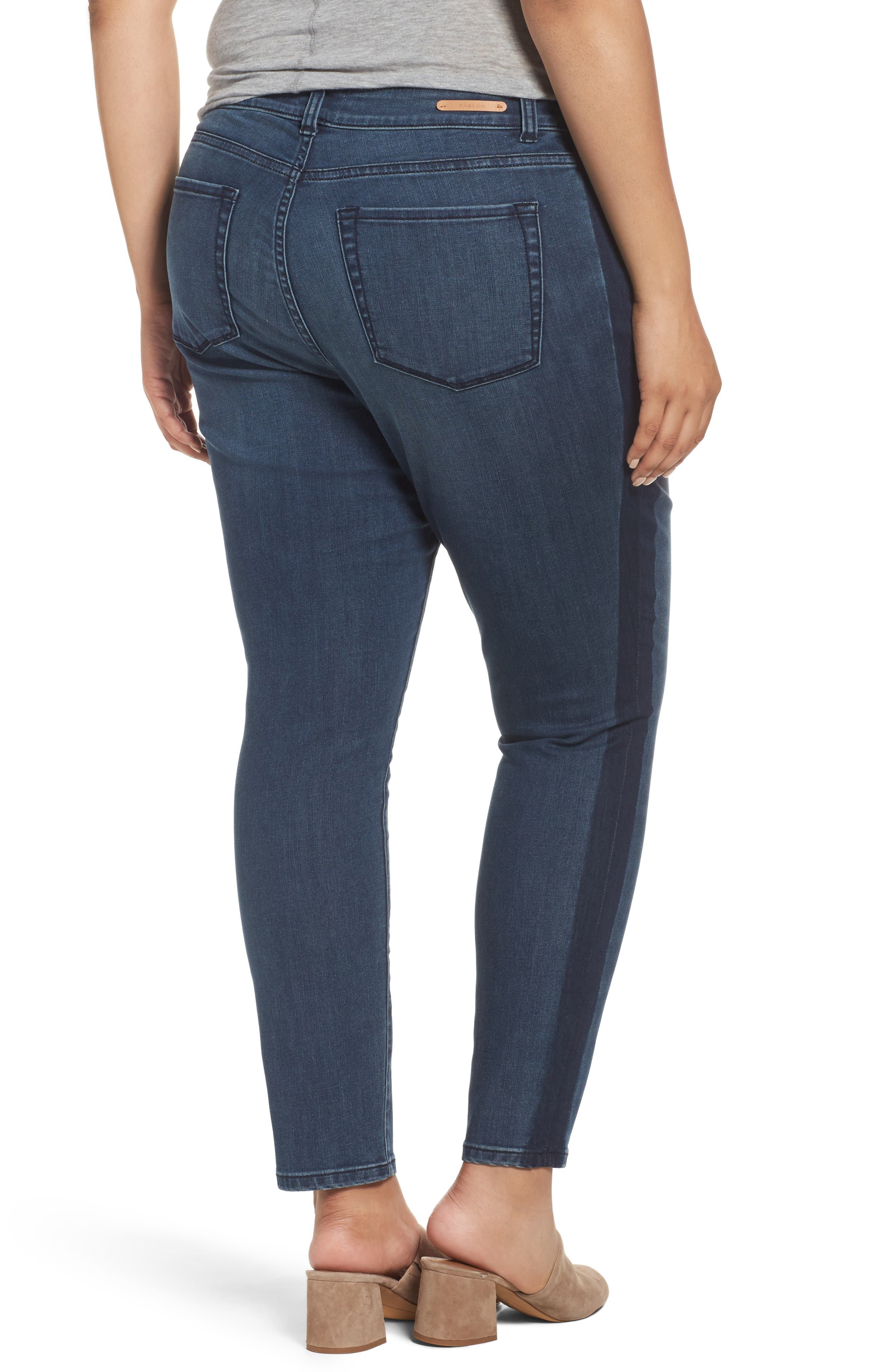 Side Panel Skinny Ankle Jeans,                             Alternate thumbnail 2, color,                             Blue Amara