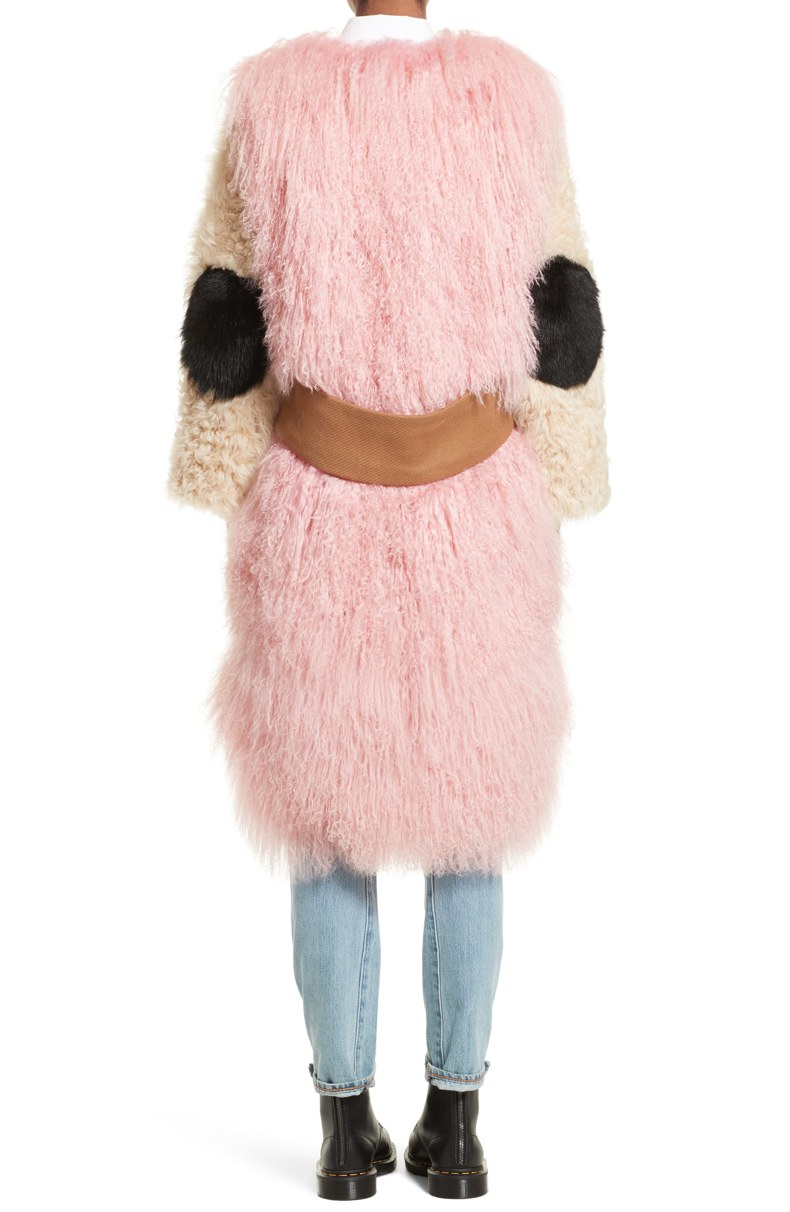 Mingo Wool Blend & Genuine Shearling Coat,                             Alternate thumbnail 3, color,                             Curry Pink