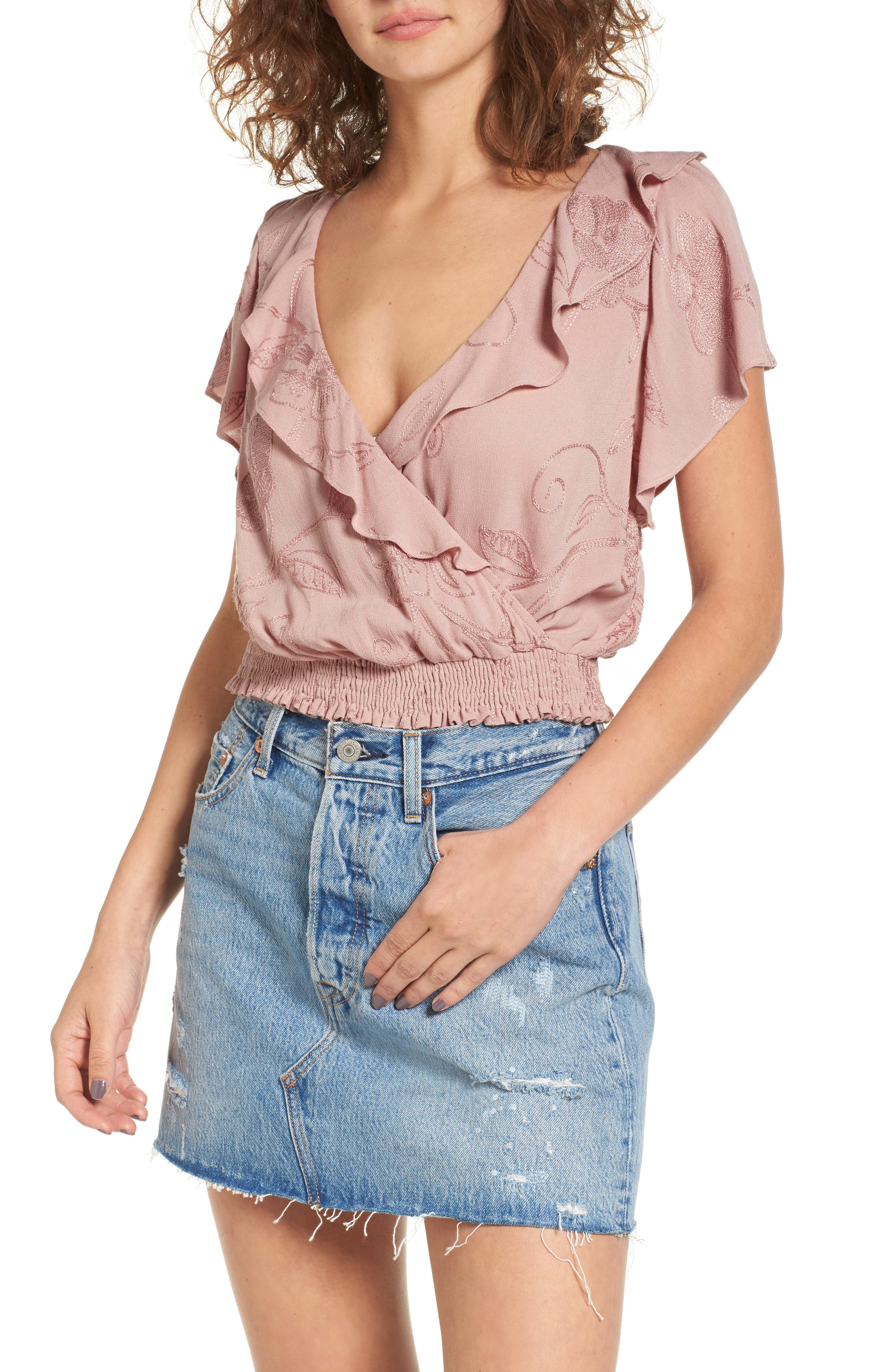 Ruffle Top,                         Main,                         color, Pink Adobe