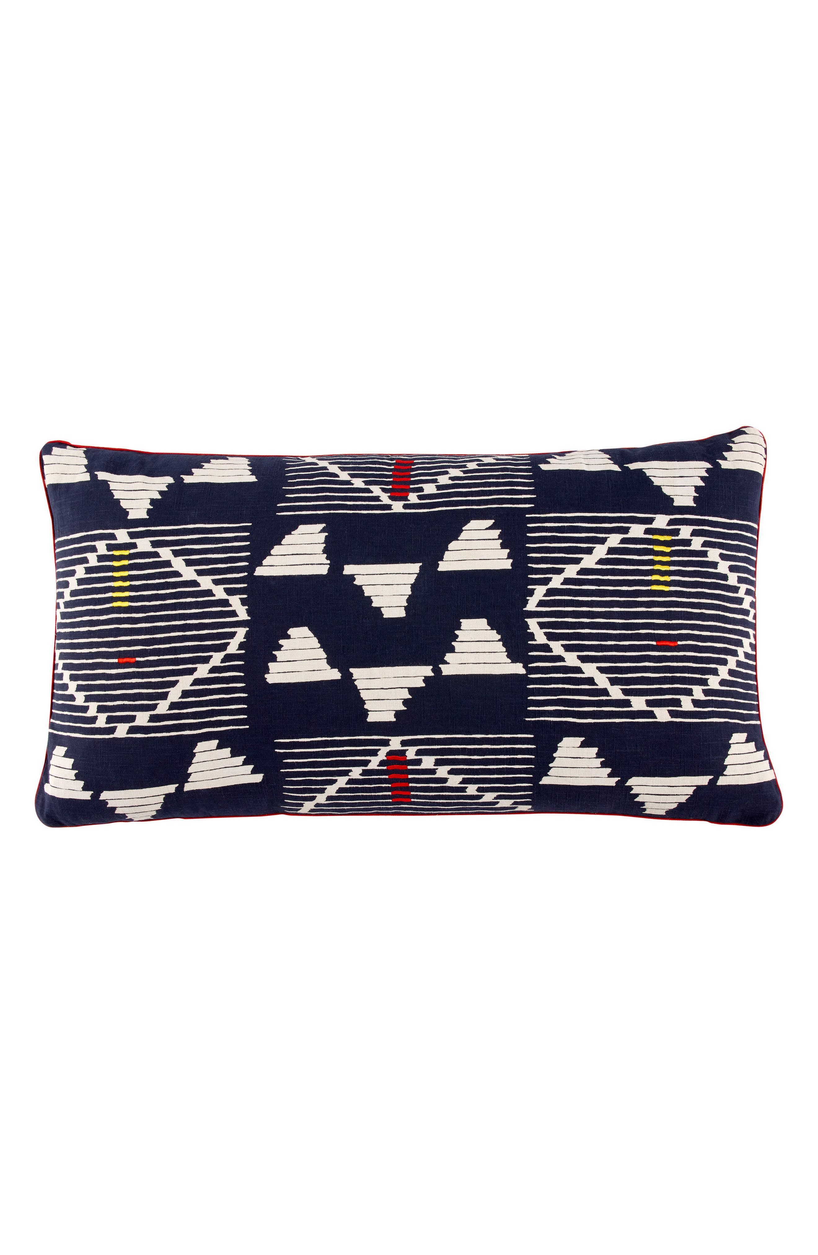 Kambu Bolster Decorative Pillow,                         Main,                         color, Indigo/ Red