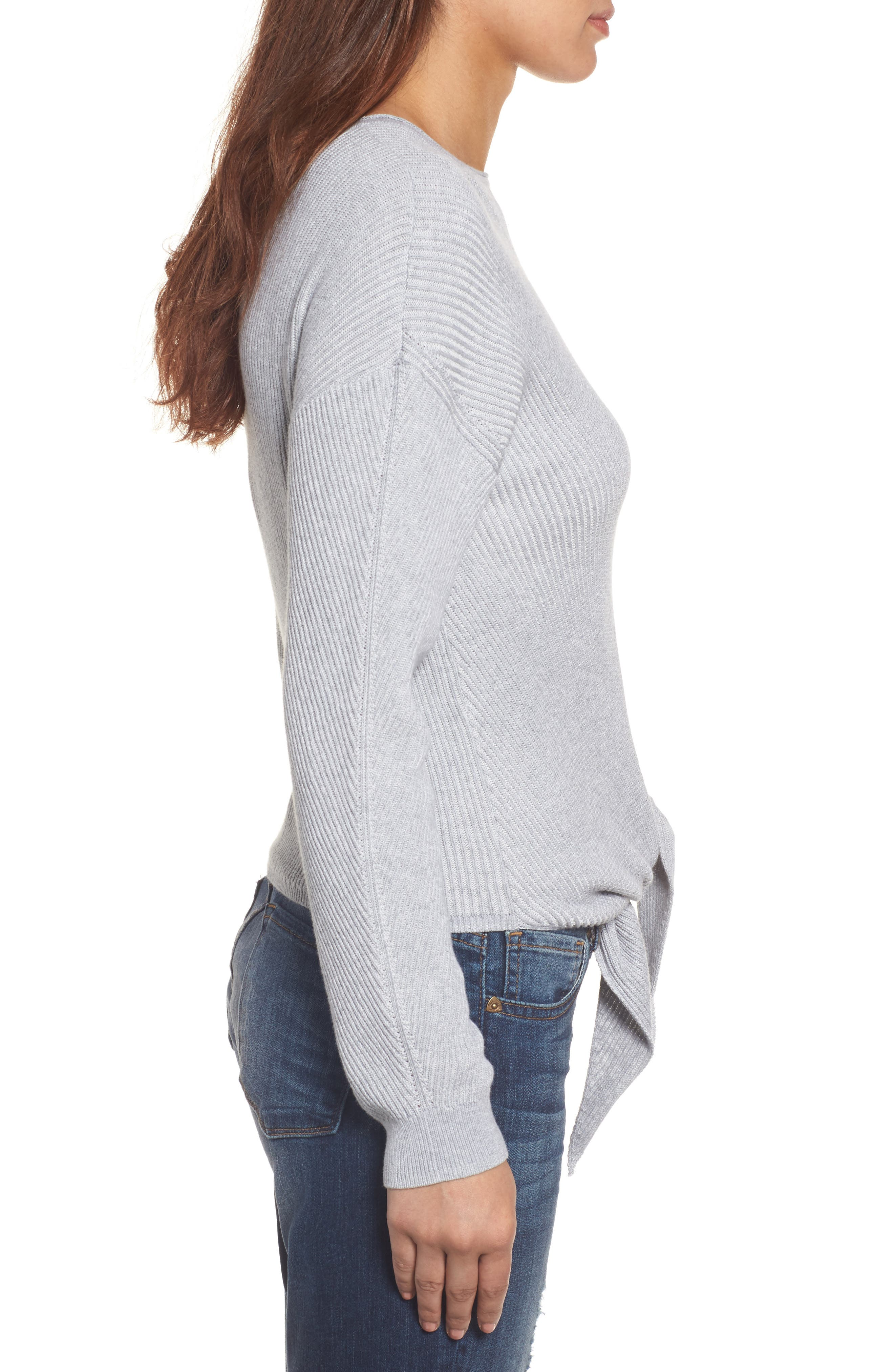 Tie Front Sweater,                             Alternate thumbnail 3, color,                             Heather Grey