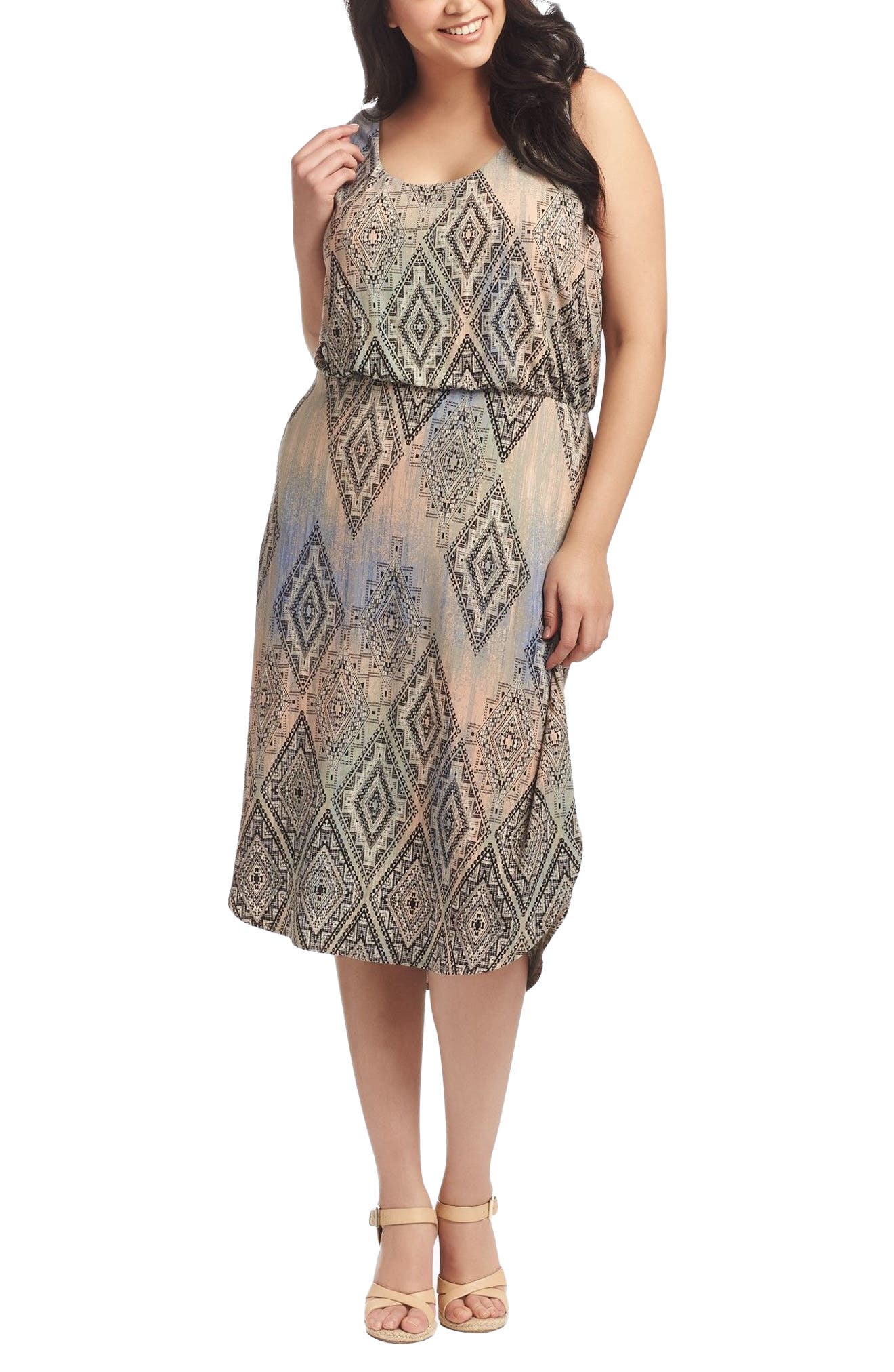 Soraya Print Jersey Midi Dress,                         Main,                         color, Aztec Overlay Diamond