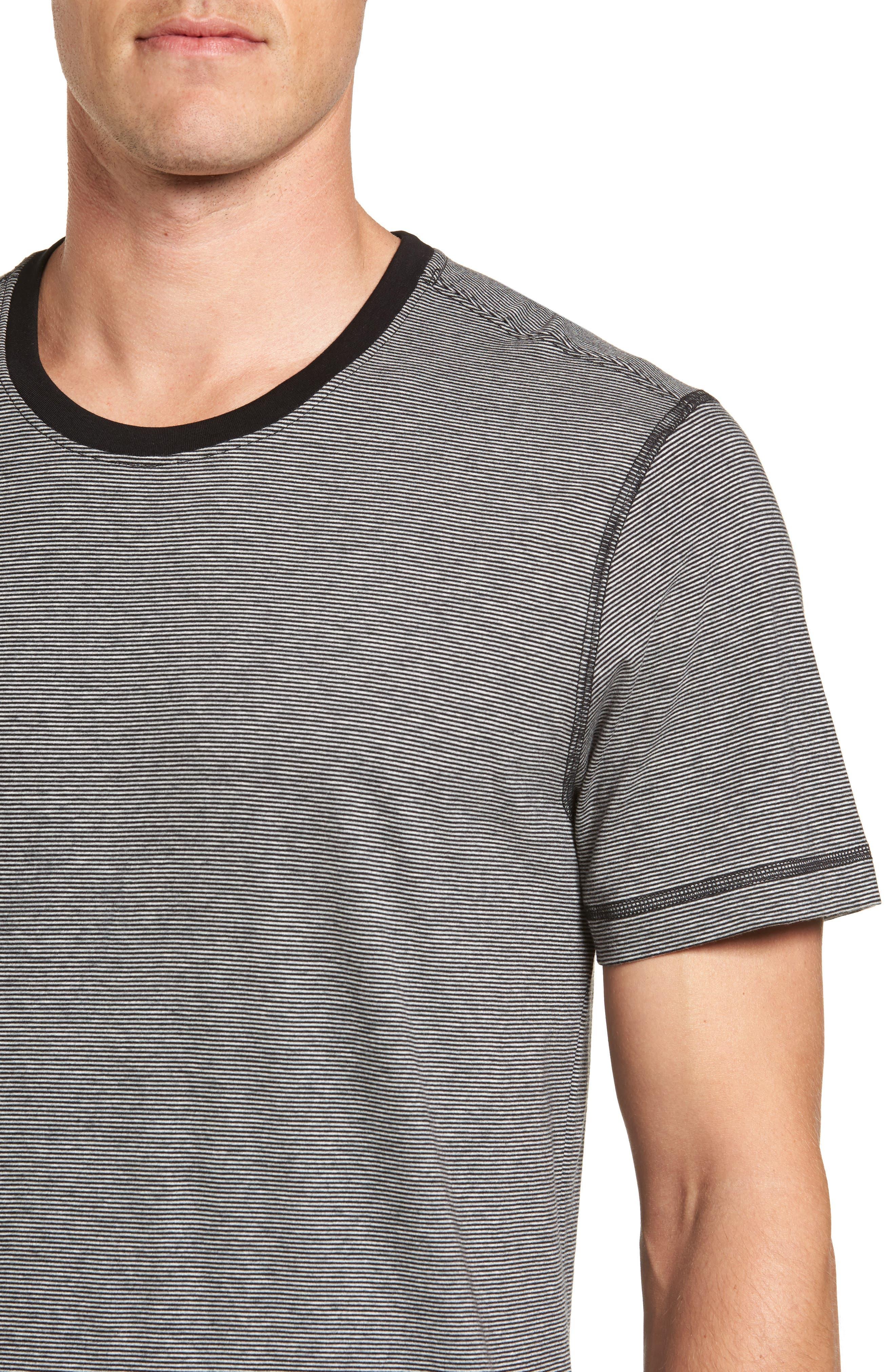 Peruvian Pima Cotton T-Shirt,                             Alternate thumbnail 4, color,                             Black/ Grey Heather