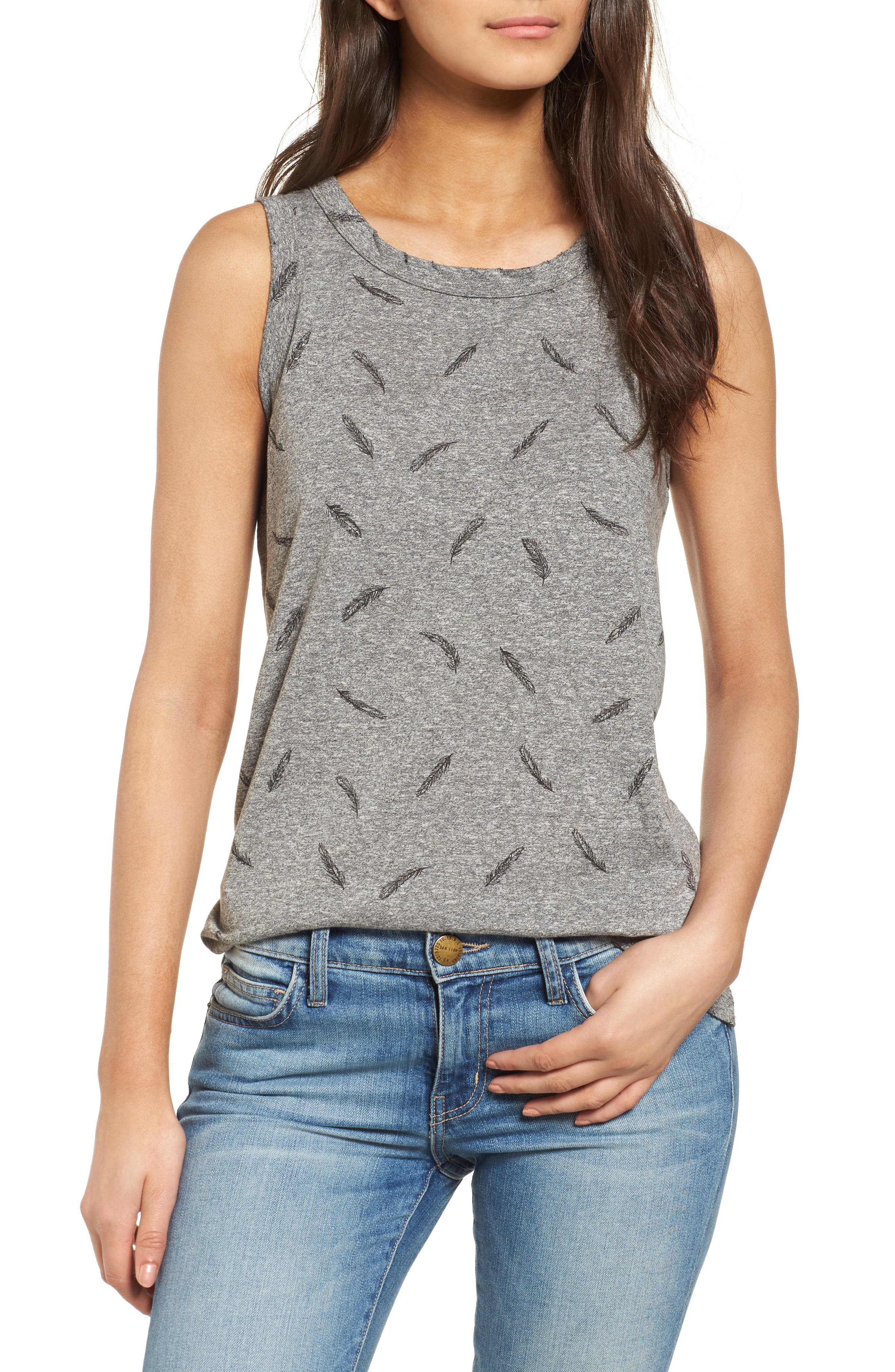 The Muscle Print Tank,                             Main thumbnail 1, color,                             Heather Grey W/ Feather