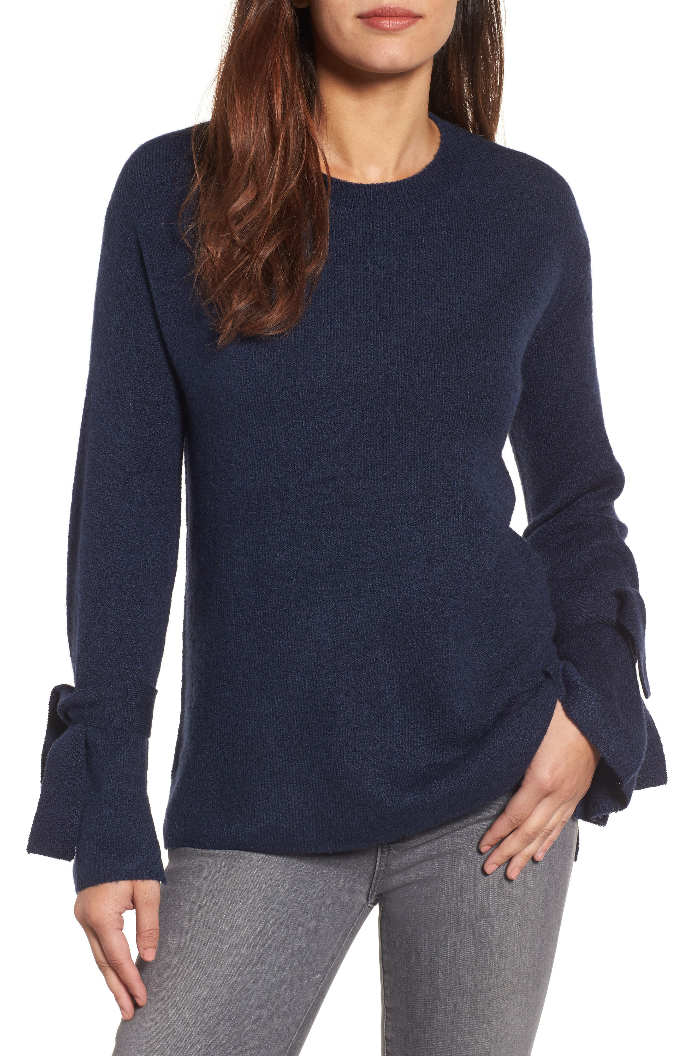 Main Image - Halogen® Tie Bell Sleeve Sweater (Regular & Petite)
