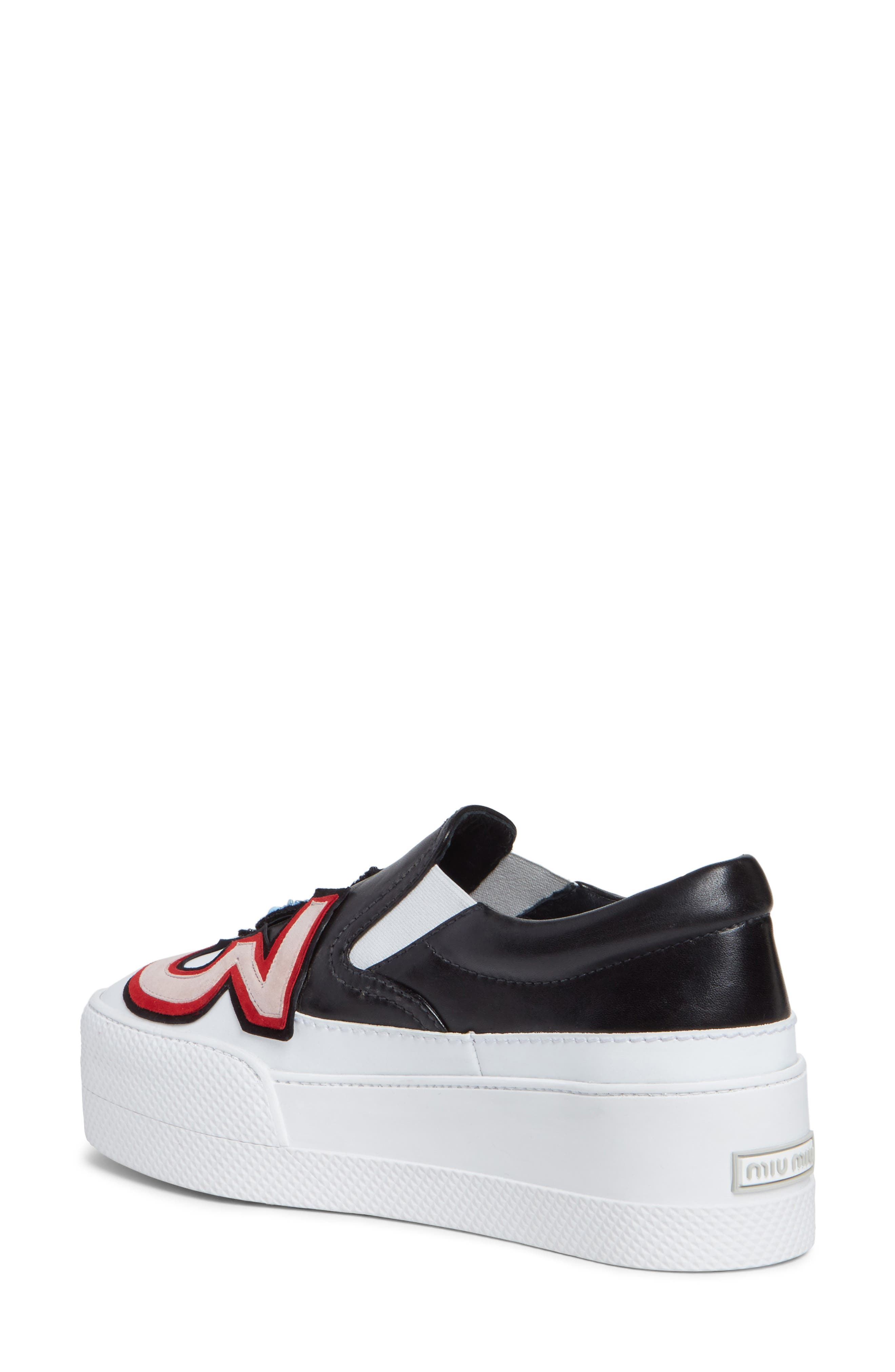 Flatform Slip-On Sneaker,                             Alternate thumbnail 2, color,                             Black/ White