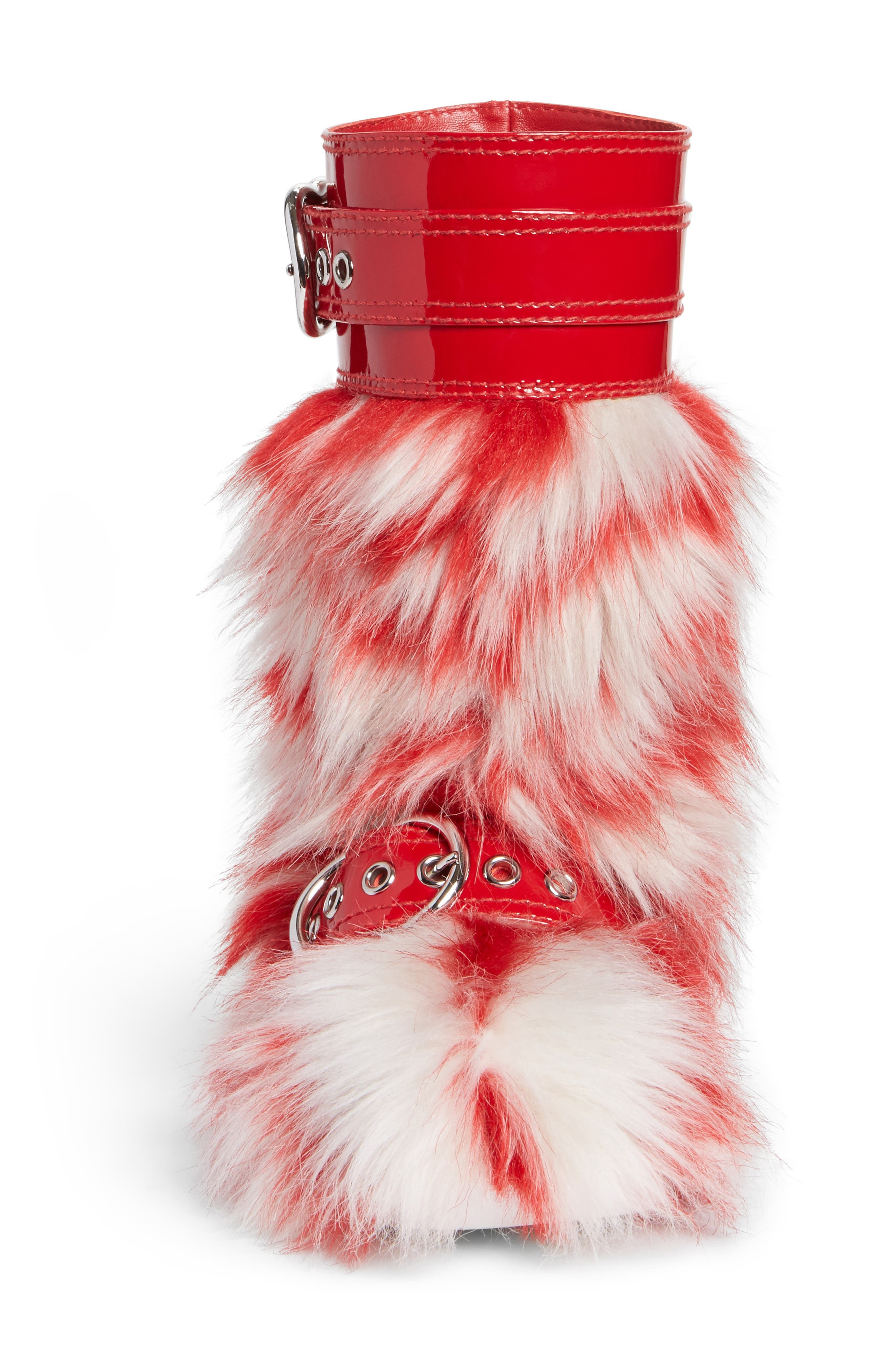 Faux Fur Boot,                             Alternate thumbnail 4, color,                             Red/ White